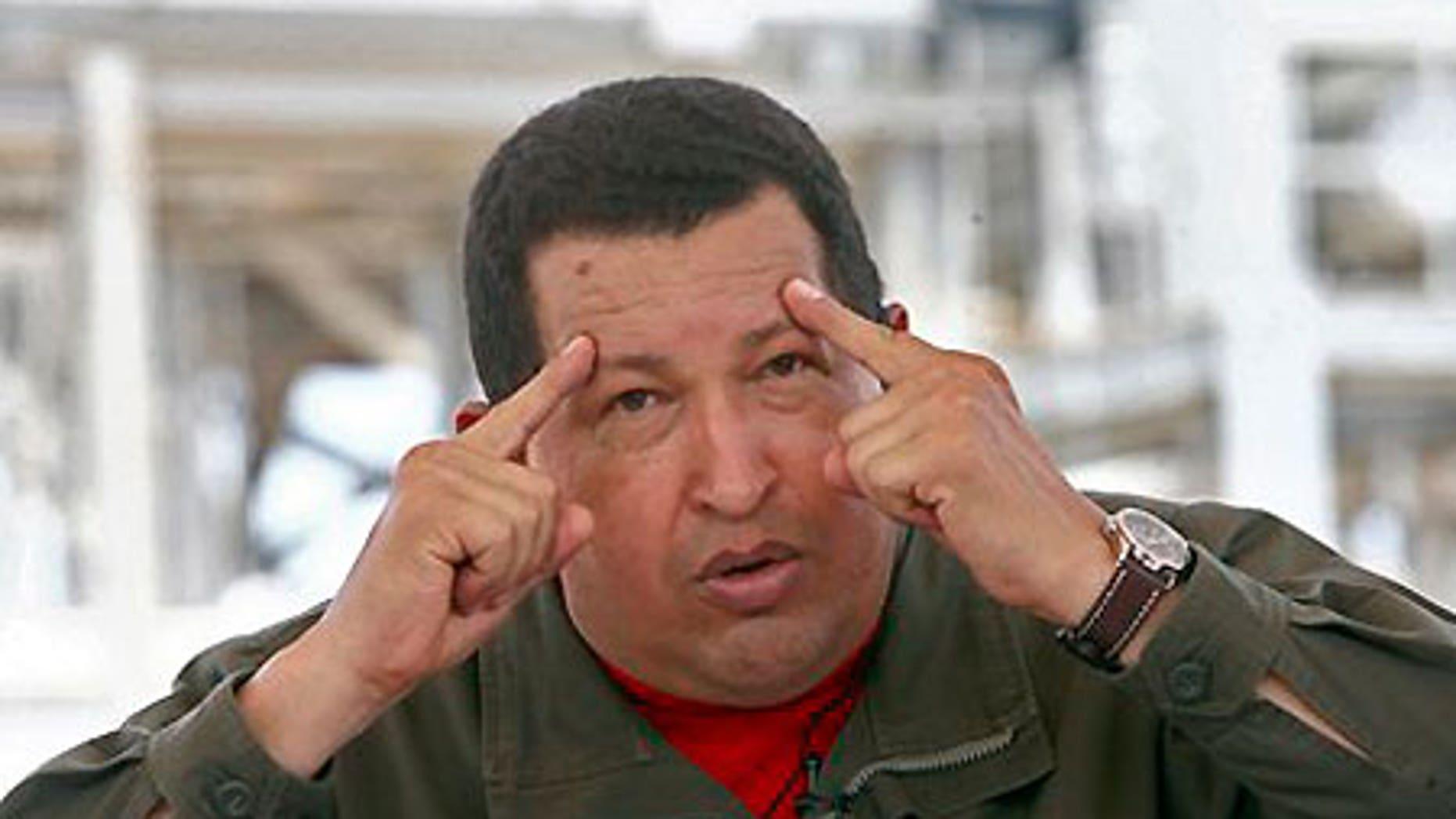May 28: Venezuelan President Hugo Chavez gestures during his radio and television show 'Hello President' in Maracaibo, Venezuela.