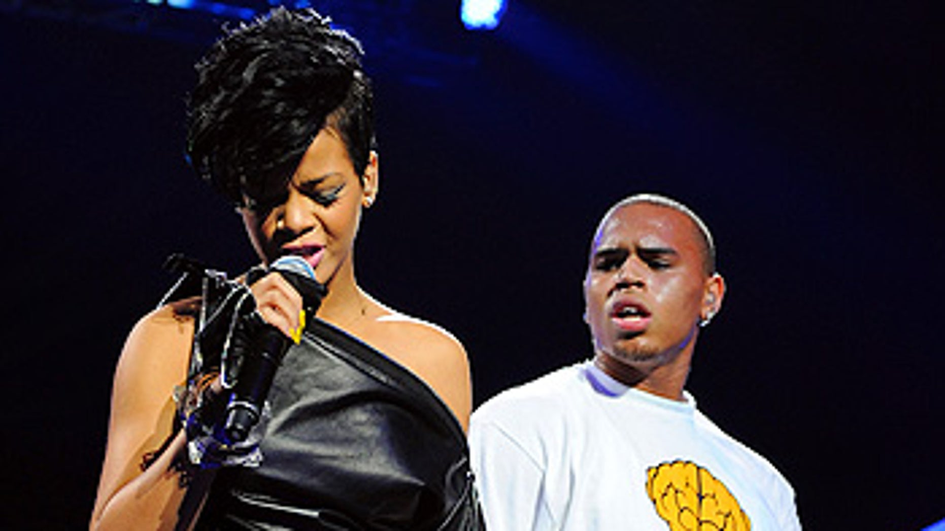 Rihanna and Chris Brown perform at Madison Square Garden in New York on Dec. 12, 2008.