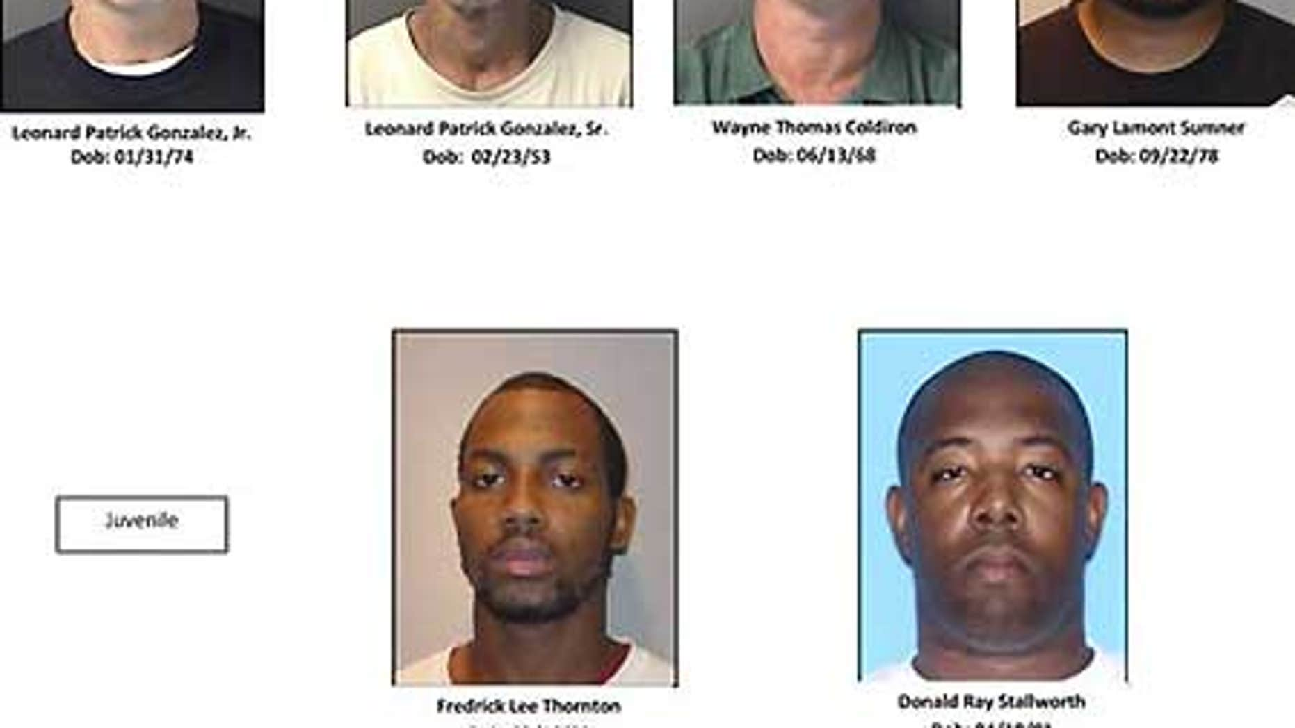Mug shots of six of the seven suspects in custody in the home-invasion murders of wealthy Florida couple Byrd and Melanie Billings.