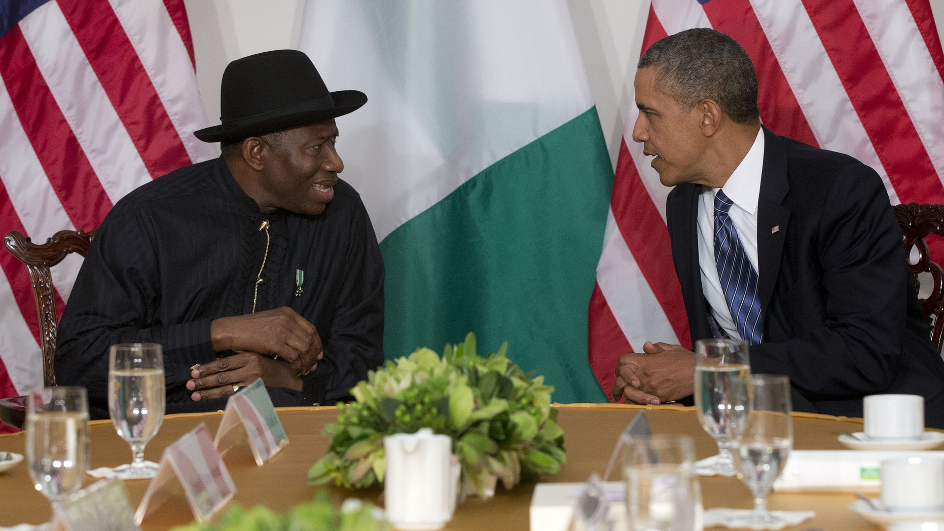 "FILE - President Barack Obama meets with Nigerian President Goodluck Jonathan in New York, in this Monday, Sept. 23, 2013 file photo.  The Associated Press on Monday Jan. 13 2014  obtained a copy of the previously unannounced Same Sex Marriage Prohibition Act  that was signed by President  Jonathan and dated Jan. 7 that bans same-sex marriage and criminalizes homosexual associations, societies and meetings, with penalties of up to 14 years in jail. Secretary of State John Kerry said Monday the United States was ""deeply concerned"" by a law that ""dangerously restricts freedom of assembly, association, and expression for all Nigerians."" (AP Photo/Pablo Martinez Monsivais, File)"
