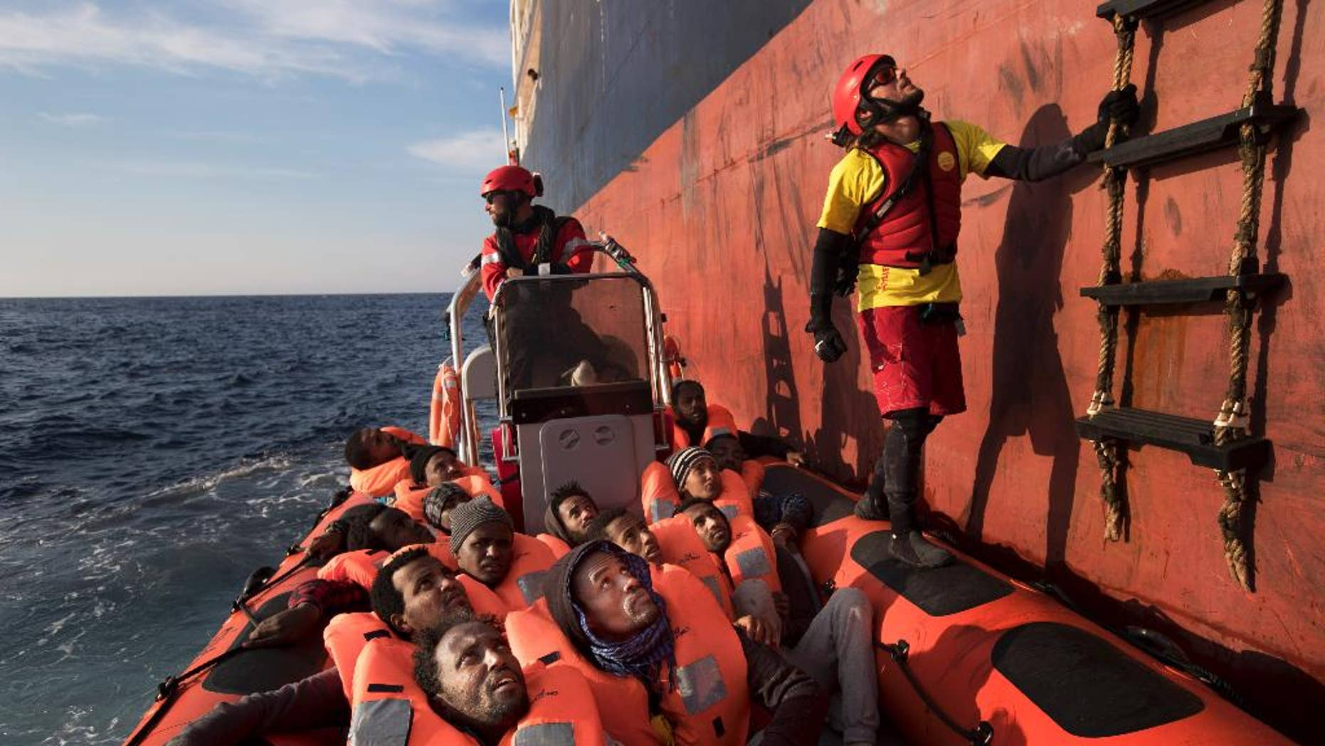 Eritrean migrants are rescued in the Mediterranean sea, about 56 miles north of Sabratha, Libya, April 6, 2017.