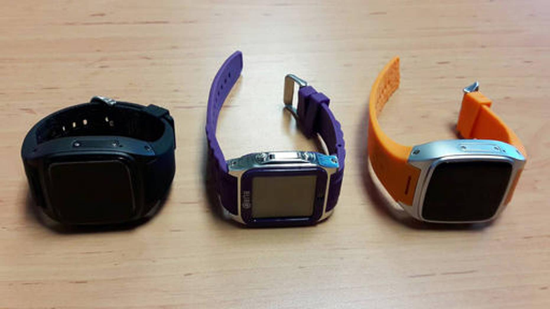 This Saturday May 7, 2016 photo by Asst. Prof. Pakarat Jumpanoi, shows three smartwatches used by students caught cheating in exams for admission to medical and dental faculties in Bangkok, Thailand. (Asst.Prof.Pakarat Jumpanoi/Rangsit University via AP)