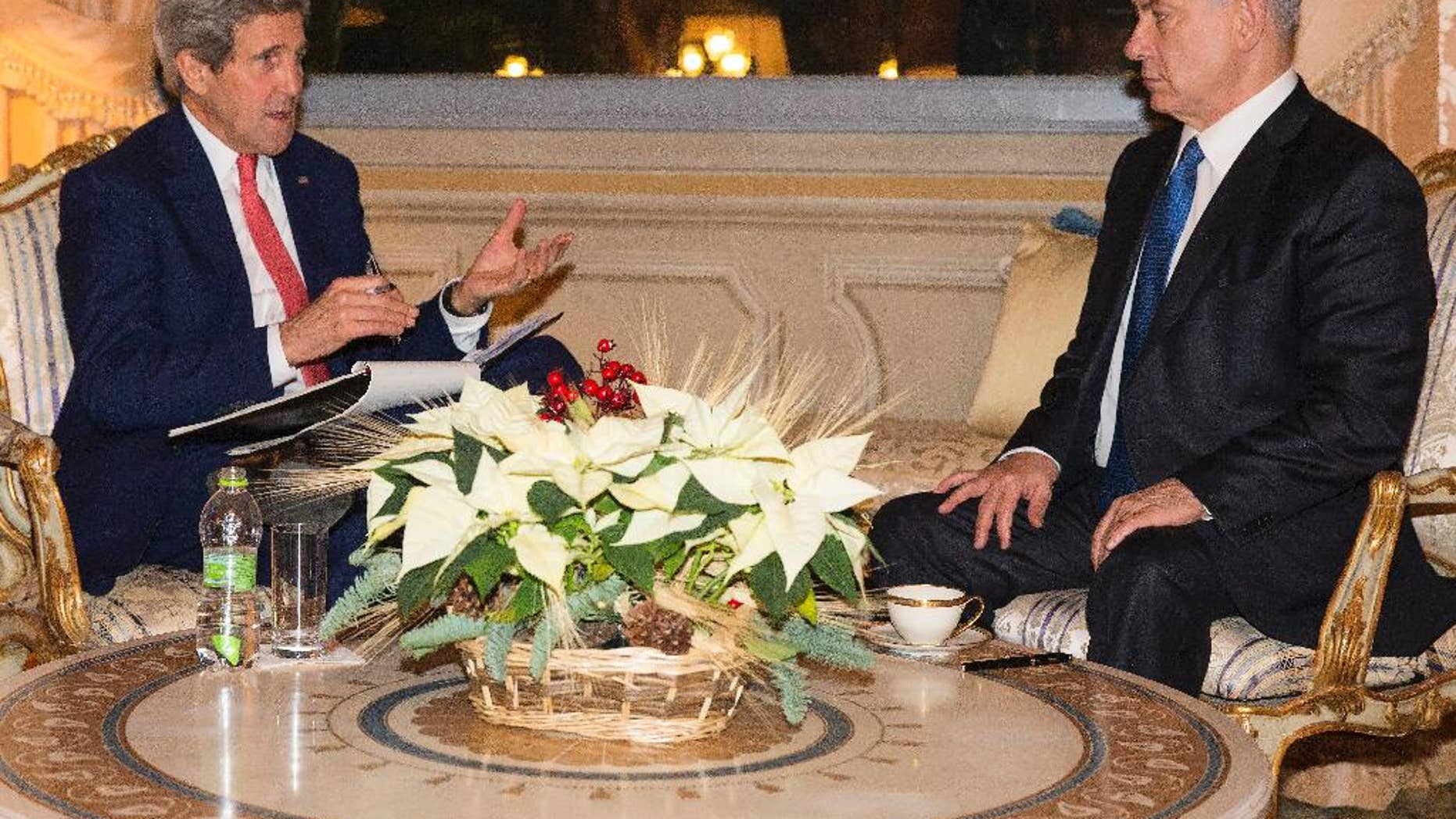 US Secretary of State, John Kerry, meets with Israel Prime Minister Benjamin Netanyahu at Villa Taverna, Rome, on Monday, Dec. 15, 2014. Kerry and Netanyahu met as the U.S. and Israel developed their responses to a draft U.N. resolution that would set a two-year timetable for an Israeli-Palestinian peace accord. (AP Photo/Evan Vucci, Pool)