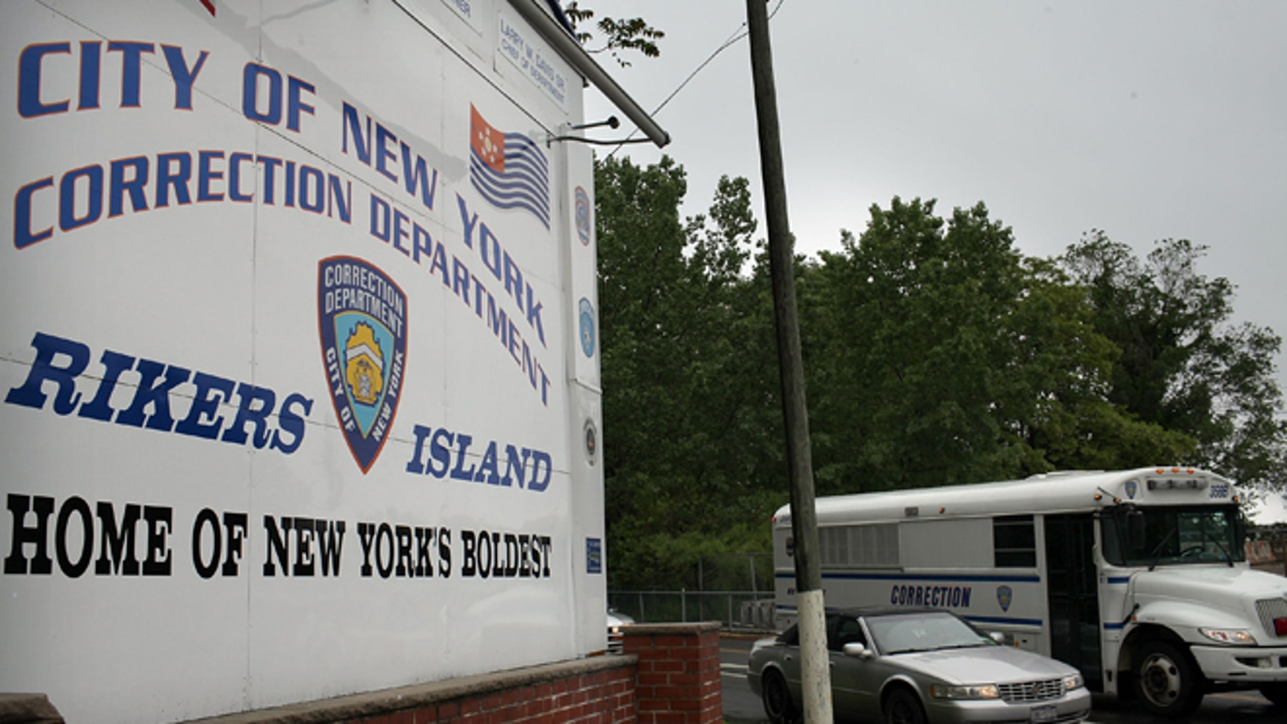 A view of the entrance to the Rikers Island prison complex.