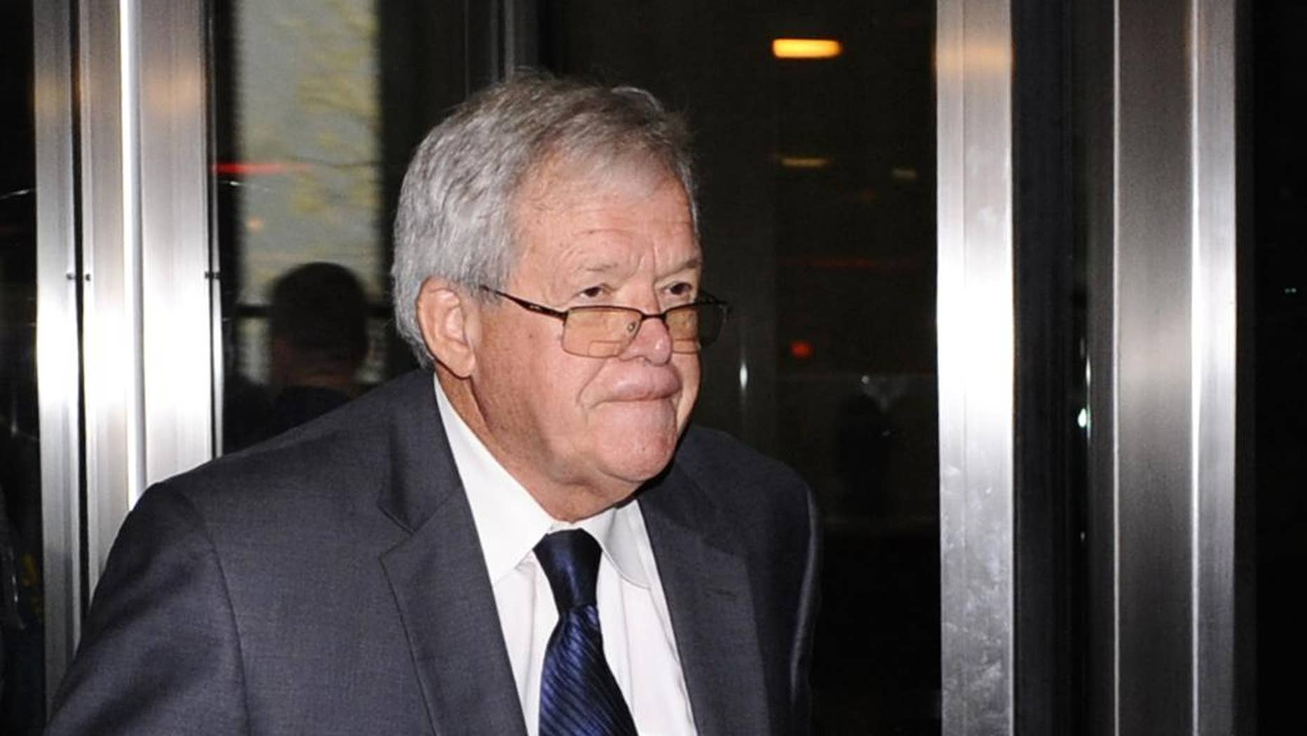 FILE - In this Oct. 28, 2015 file photo, former U.S. House Speaker Dennis Hastert leaves the federal courthouse in Chicago after a hearing in his hush-money case. Prosecutors said Wednesday, April 13, 2016, they expect one person who accuses Hastert of sexual abuse to speak at his April 27, 2016 sentencing and the judge has indicated that he wants to consider that Hastert lied to federal authorities. (AP Photo/Matt Marton, File)