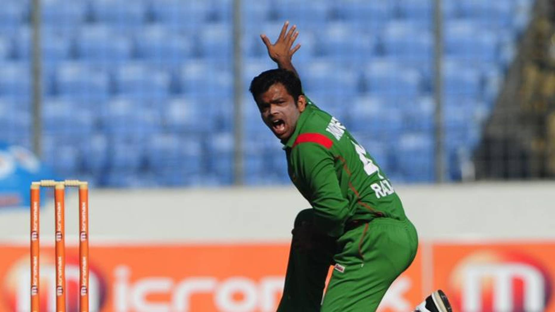 Bangladeshi spinner Abdur Razzak appeals for a leg before wicket (LBW) decision during a match against Zimbabwe in Dhaka on December 3, 2010