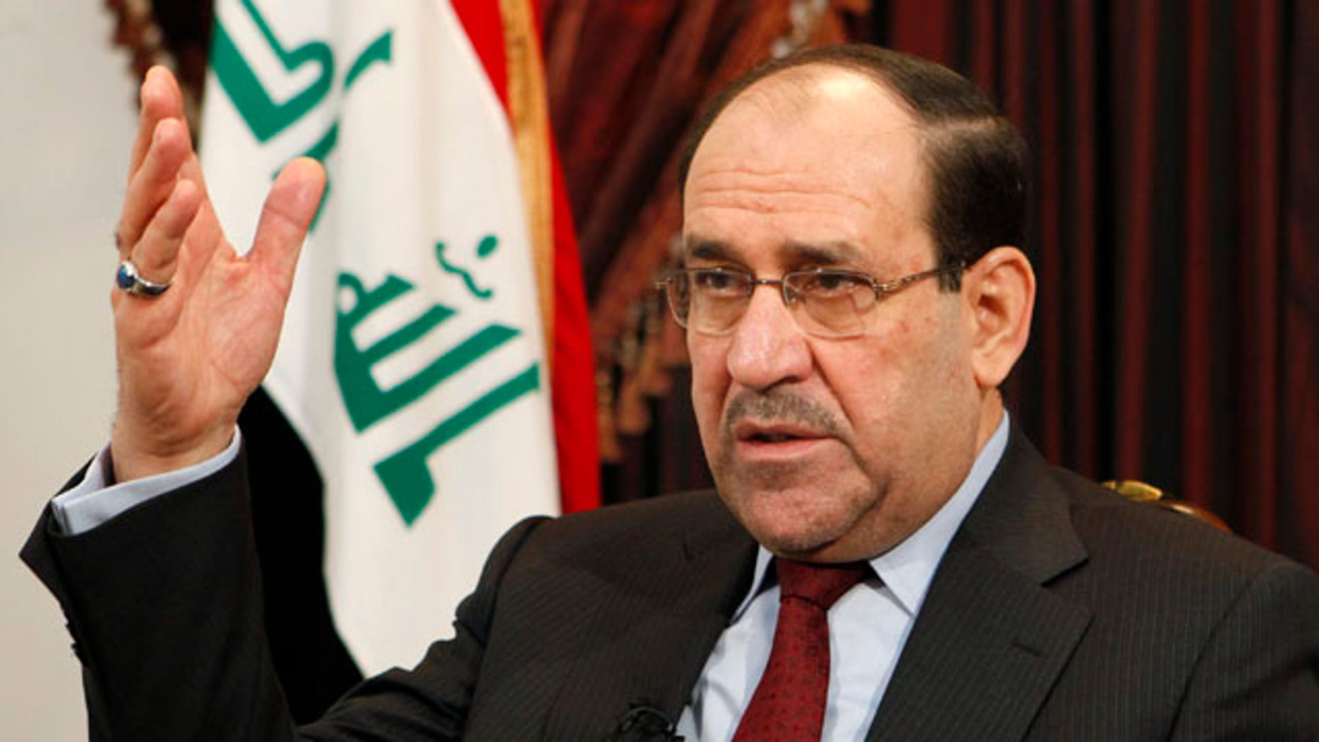 Dec. 3, 2011: Iraq's Prime Minister Nouri al-Maliki speaks during an interview with The Associated Press in Baghdad, Iraq.