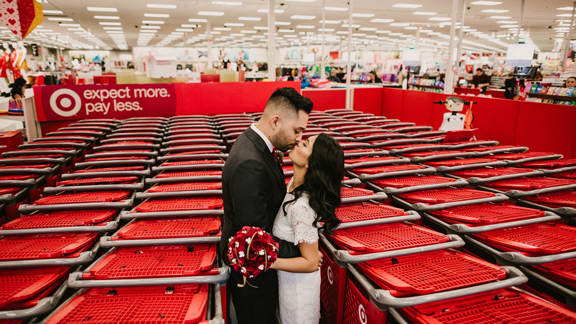 """""""We like long walks at Target instead of on the beach,"""" the bride said."""