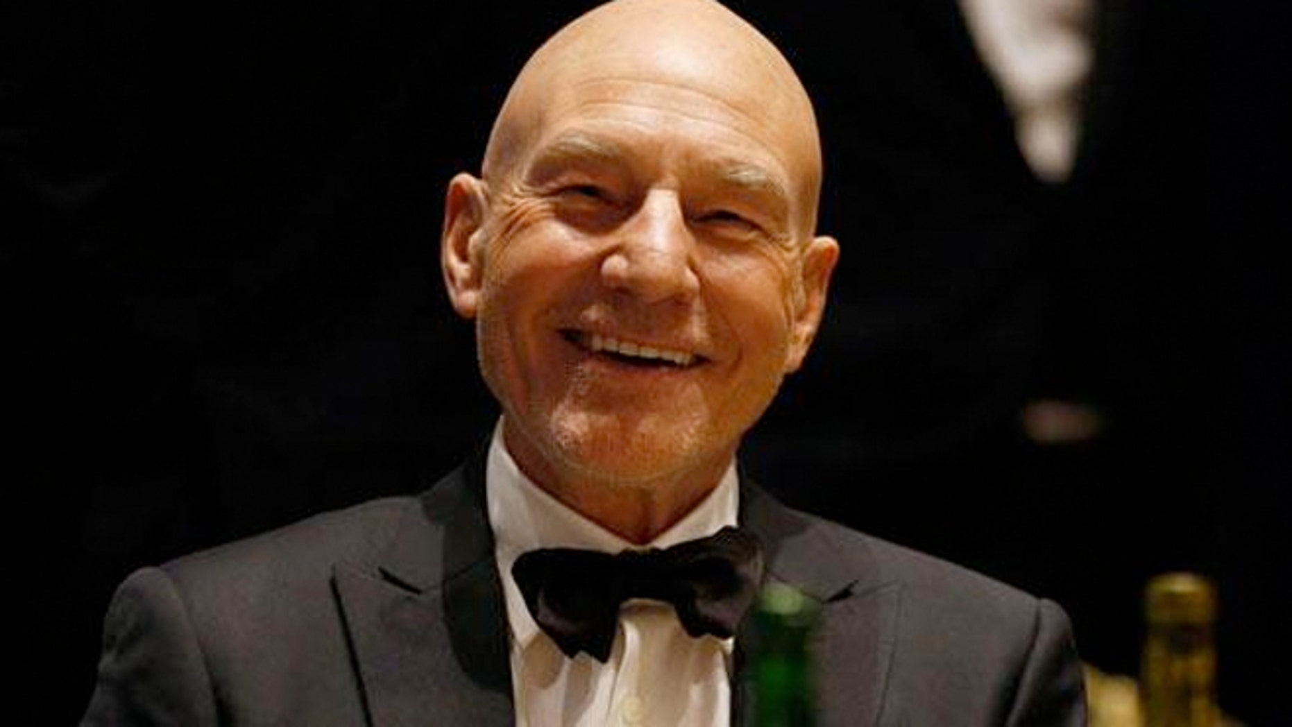 Actor Patrick Stewart at the White House Correspondent's Dinner in April.  Pizza was not served there.