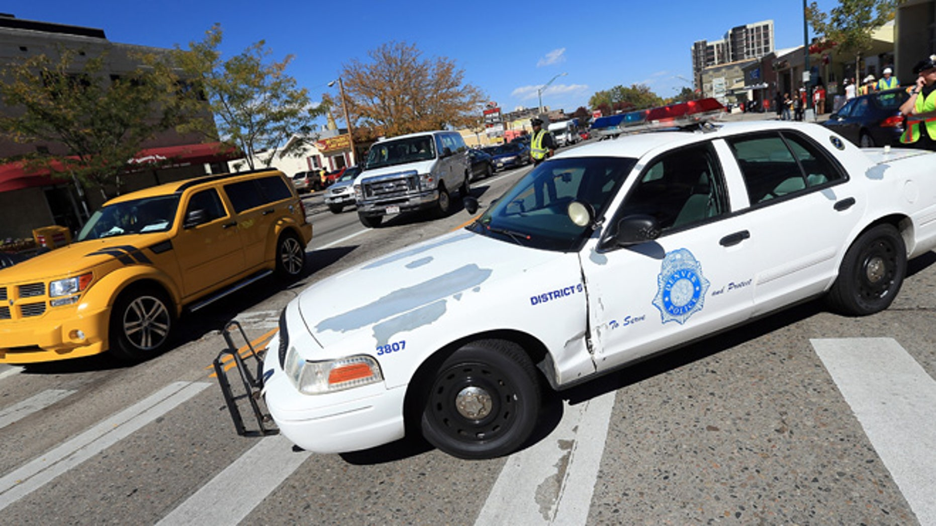 DENVER, CO - OCTOBER 03:  The Denver Police Department close streets in preparation for the Presidential Debate at the University of Denver on October 3, 2012 in Denver, Colorado. The first of four debates for the 2012 Election, three Presidential and one Vice Presidential, is moderated by PBS's Jim Lehrer and focuses on domestic issues: the economy, health care, and the role of government.  (Photo by Doug Pensinger/Getty Images)