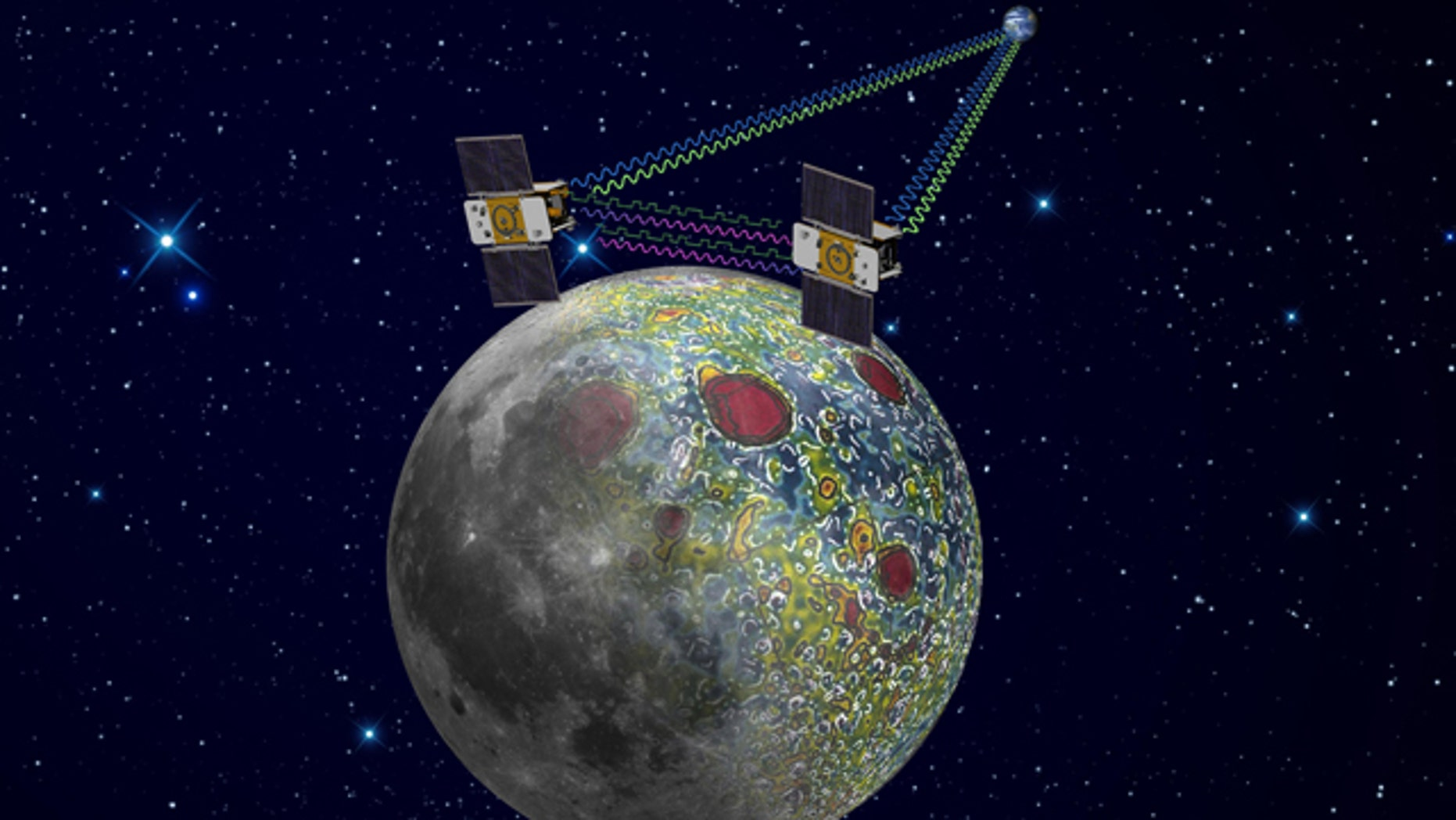 This undated artist rendering provided by NASA shows the twin Grail spacecraft mapping the lunar gravity field.
