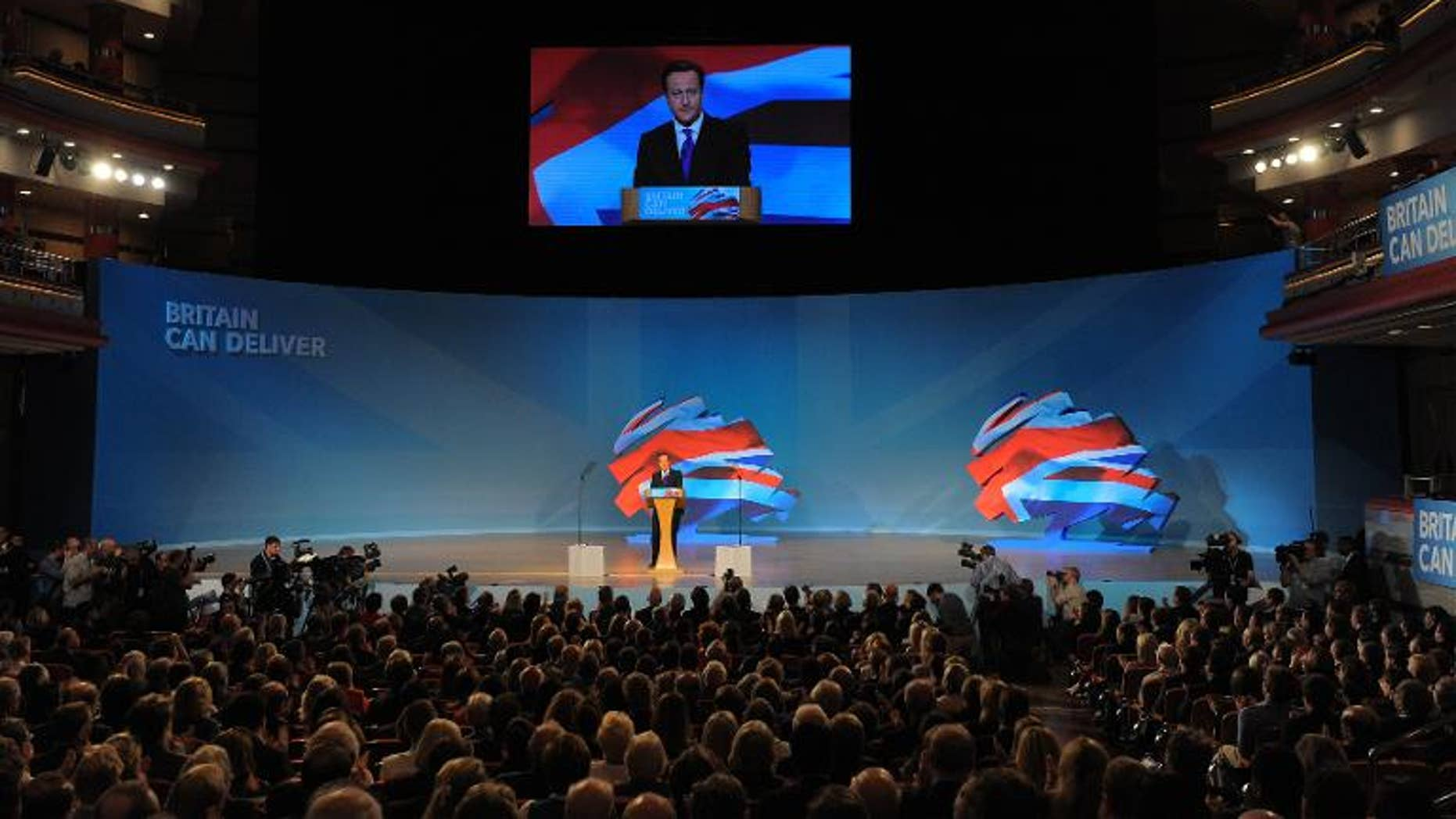 Prime Minister, David Cameron, Leader of the Conservative Party delivers a speech to delegates during the annual Conservative Party Conference at the ICC in Birmingham, on October 10, 2012