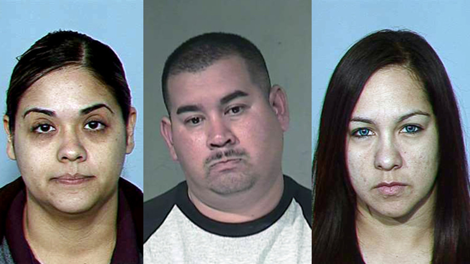 Prosecutors have asked charges to be dismissed against Sylvia Rios Najera (left), Alfredo Aguirre Navarrette and  Marcella Marie Hernandez. (Photos: AP/Maricopa County Sheriff)