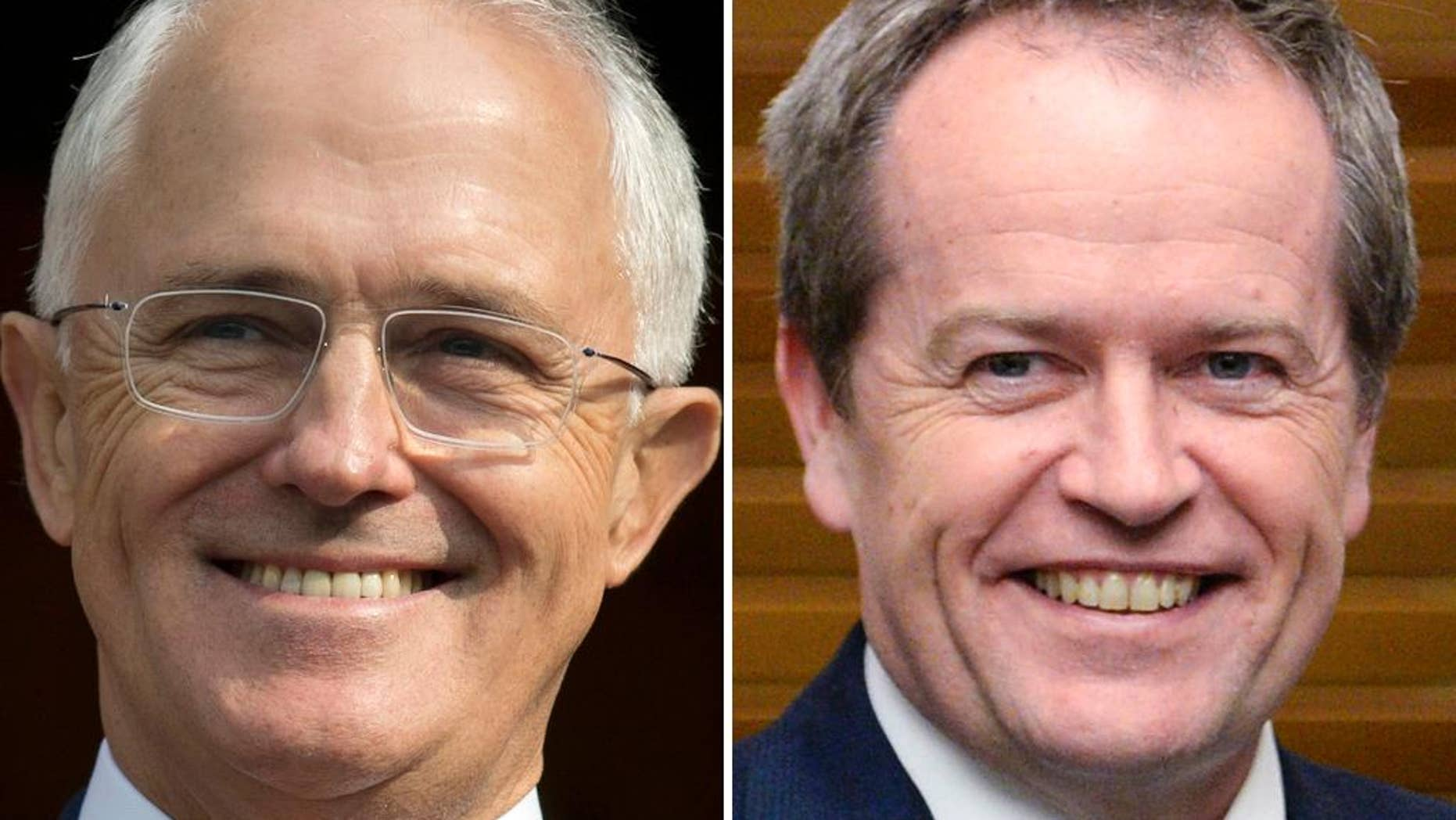 "FILE - This combination of file photos from April 15, 2016, and July 8, 2014, shows Australian Prime Minister Malcolm Turnbull, left, and Australian opposition leader Bill Shorten. Australian independent Sen. Nick Xenophon compared his country's contest to the widely popular 1990s American sitcom 'Seinfeld,' known as a ""show about nothing."" In his comparison he says, ""This is almost a 'Seinfeld' election _ it's an election about not much at all.""  (AP Photo/Files)"