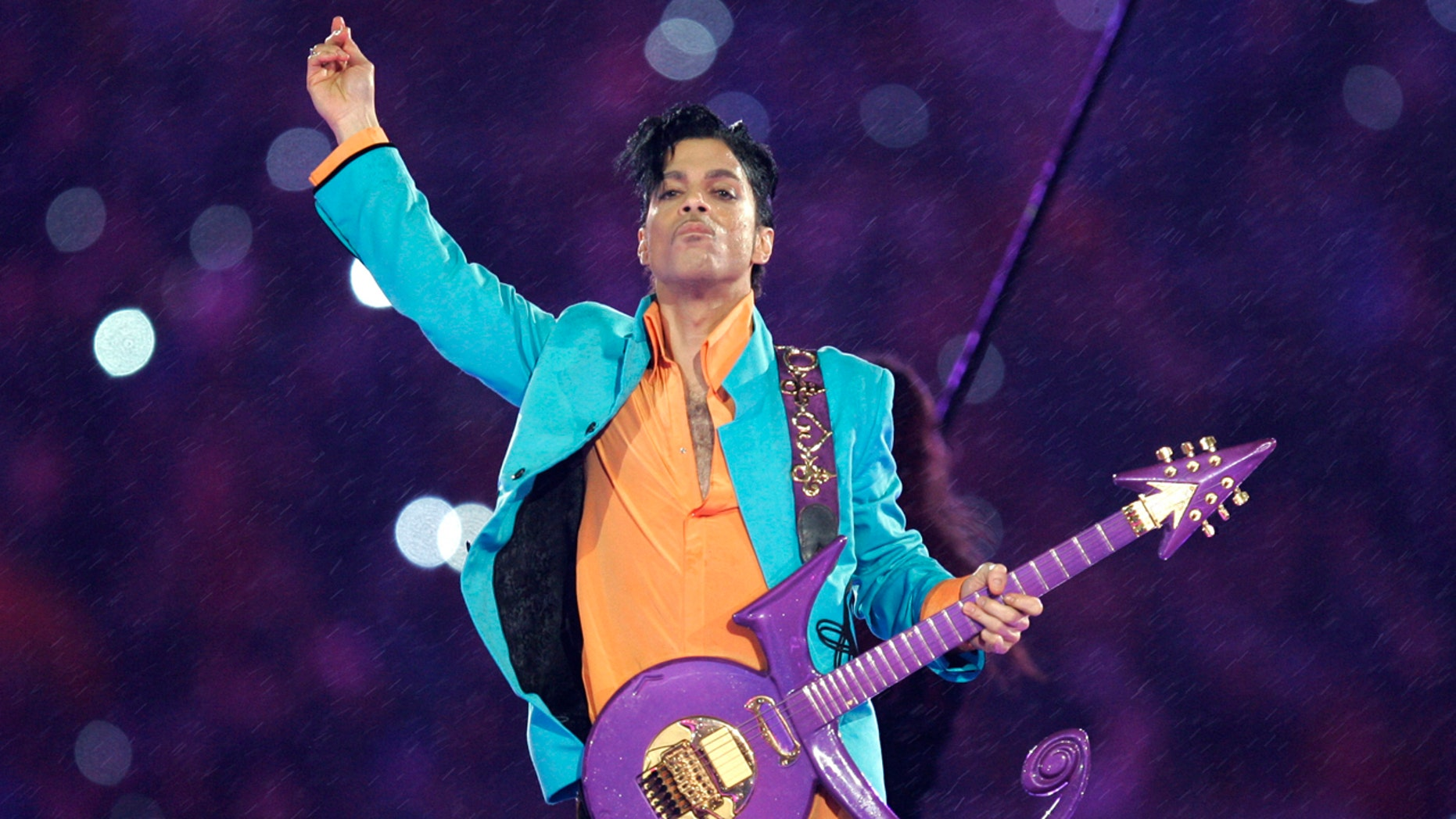 FILE - In this Feb. 4, 2007, file photo, Prince performs during the halftime show at the Super Bowl XLI football game at Dolphin Stadium in Miami. Carver County prosecutors have agreed to provide Prince's siblings with documents connected to their investigation into his death. John Goetz, an attorney for Prince's siblings, says he expects prosecutors will provide the medical examiner's autopsy investigation this week and the remaining investigative files next week. (AP Photo/Chris O'Meara, File)