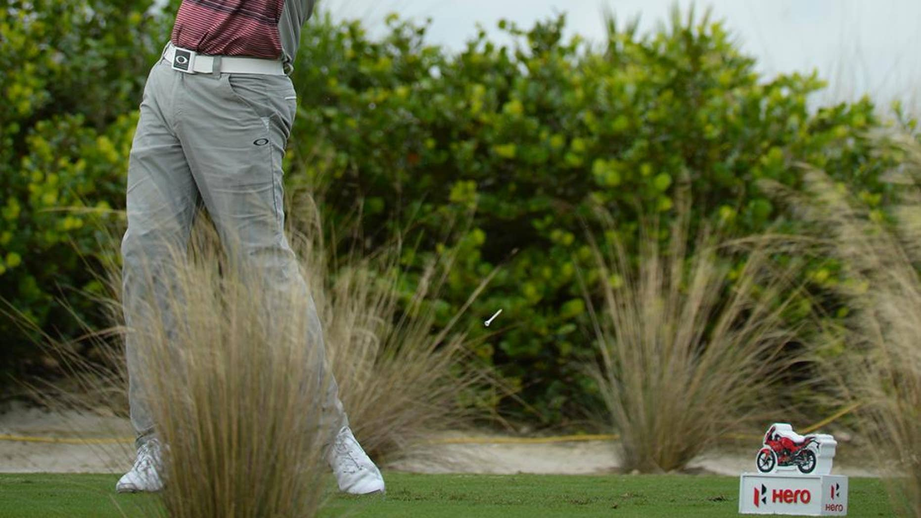 In this photo provided by the Tiger Woods Foundation, Bubba Watson tees off on the 11th hole at Albany Golf Club during the Hero World Challenge in Nassau, Bahamas on Sunday, Dec. 6, 2015. Watson won the tournament by three shots. (J.D. Cuban/Tiger Woods Foundation via AP)