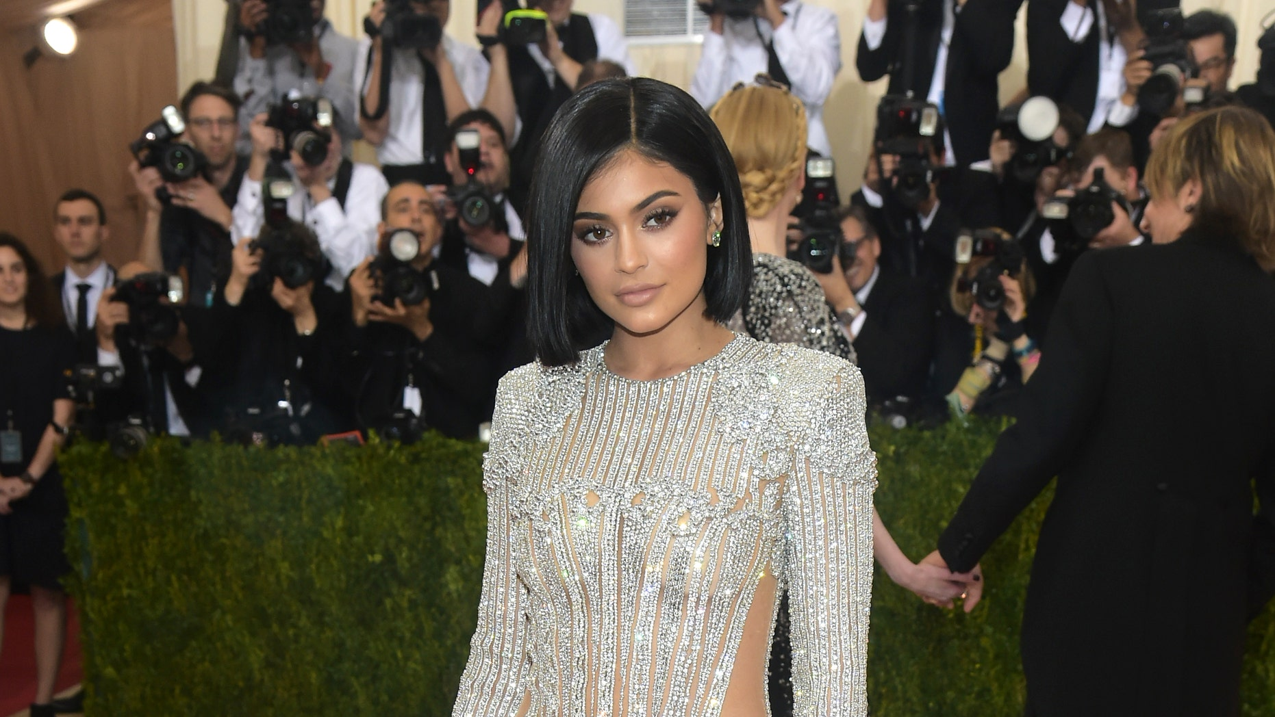 "Kylie Jenner arrives at The Metropolitan Museum of Art Costume Institute Benefit Gala, celebrating the opening of ""Manus x Machina: Fashion in an Age of Technology"" on Monday, May 2, 2016, in New York."