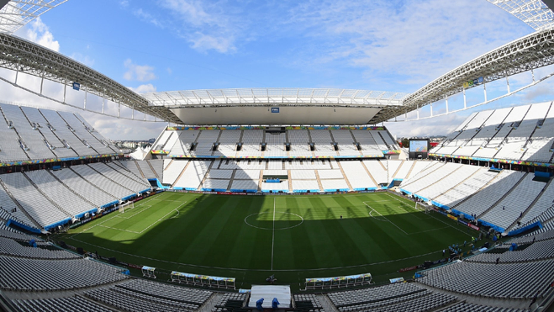 A general view of Arena de São Paulo during a Brazil training session ahead of the 2014 FIFA World Cup Brazil opening match against Croatia on June 11, 2014 in Sao Paulo, Brazil.  (Photo by Buda Mendes/Getty Images)