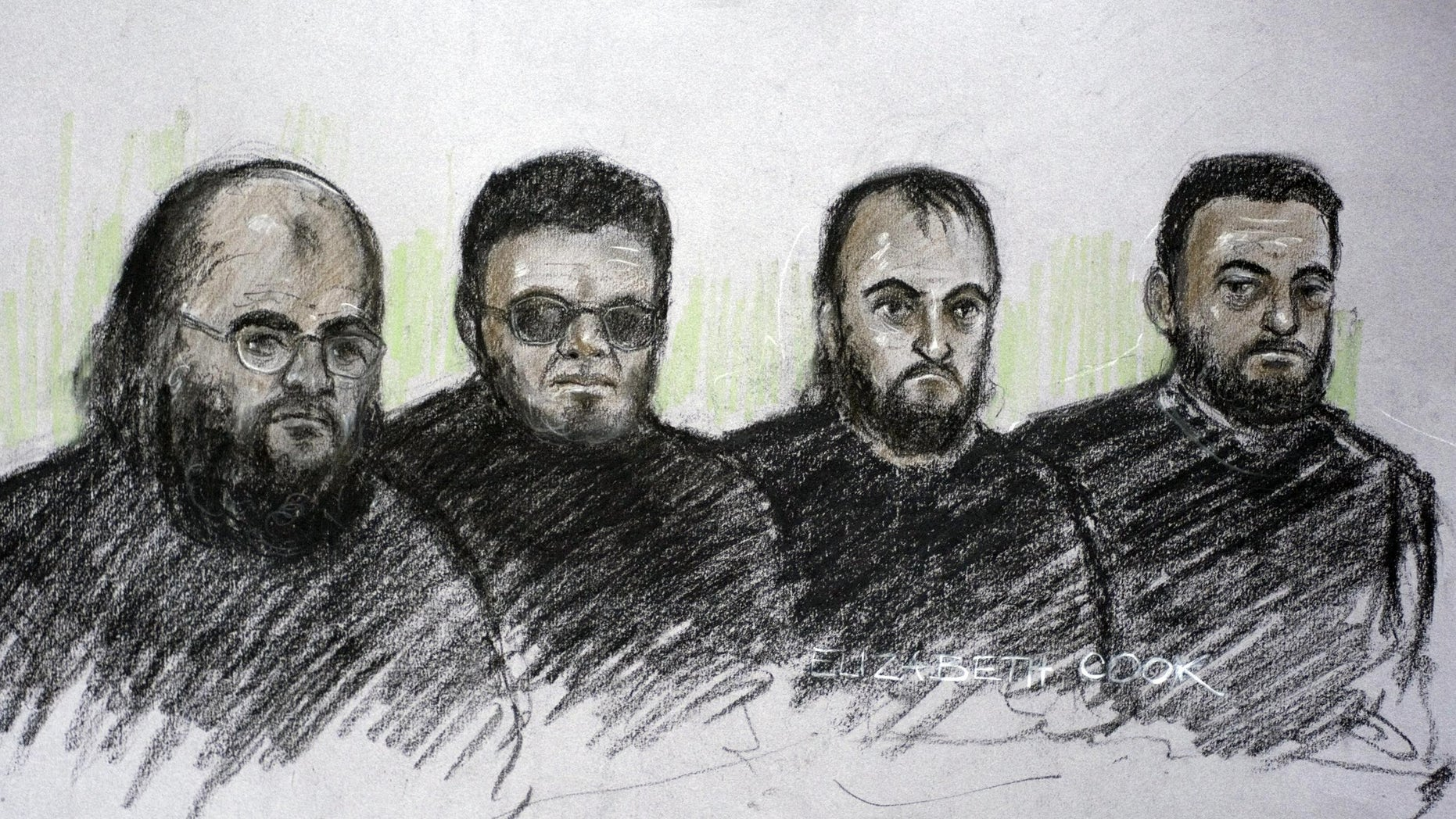 September 26: Court artist's impression of, from the left,  Irfan Nasser, Rahim Ahmed, Irfan Khalid and Ashik Ali appearing in the dock at West London Magistrates, in London where they were remanded in custody over an alleged terrorist  plot.