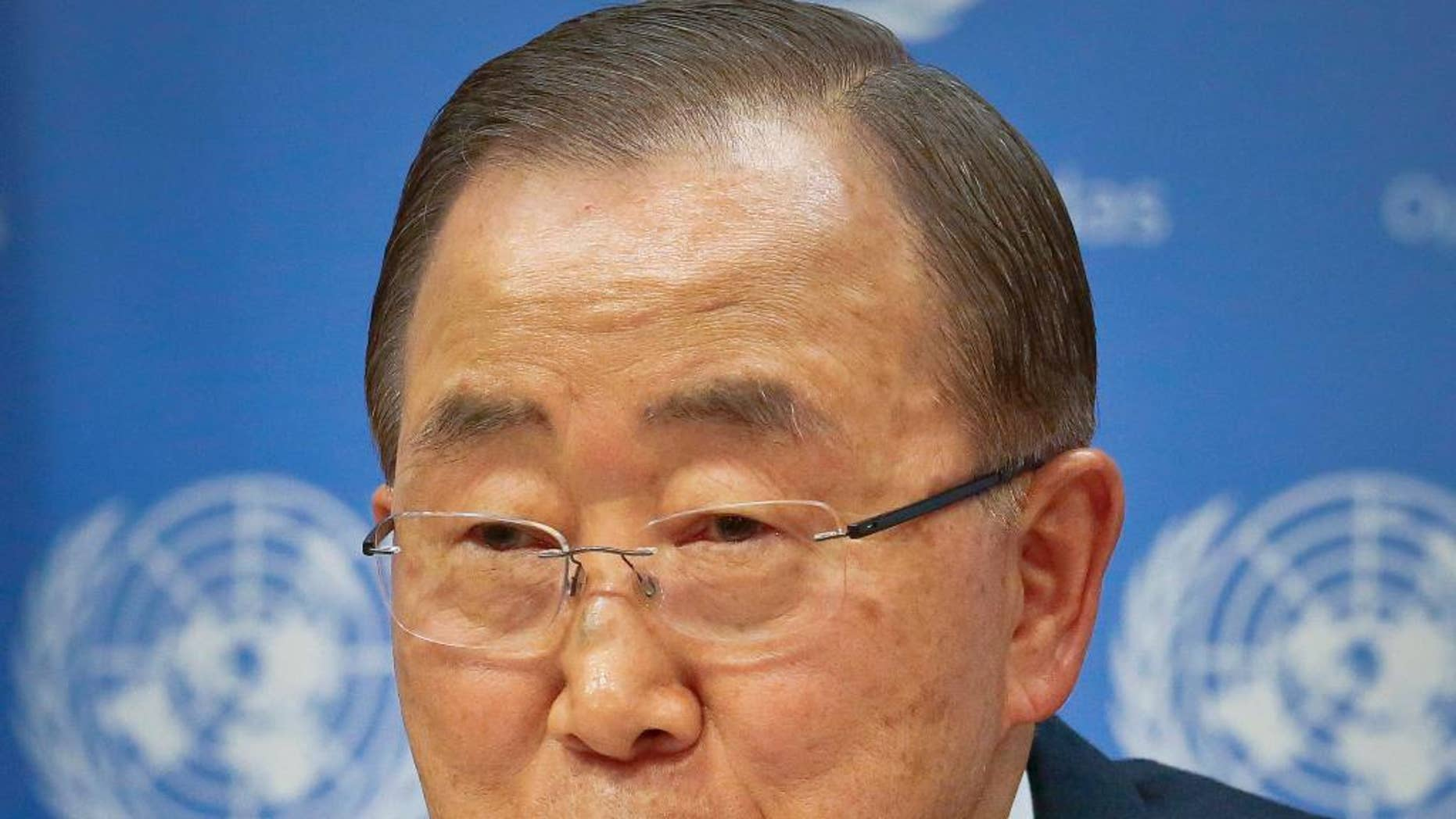 """FILE - In this Friday, Dec. 16, 2016, file photo, United Nations Secretary-General Ban Ki-moon speaks during his final press conference at the U.N. headquarters. North Korea on Friday, Dec. 23, mocked the outgoing UN secretary-general over his apparent ambitions to run for South Korean president, calling him an opportunistic """"chameleon in a human mask"""" who's dreaming a """"hollow dream."""" (AP Photo/Bebeto Matthews, File)"""