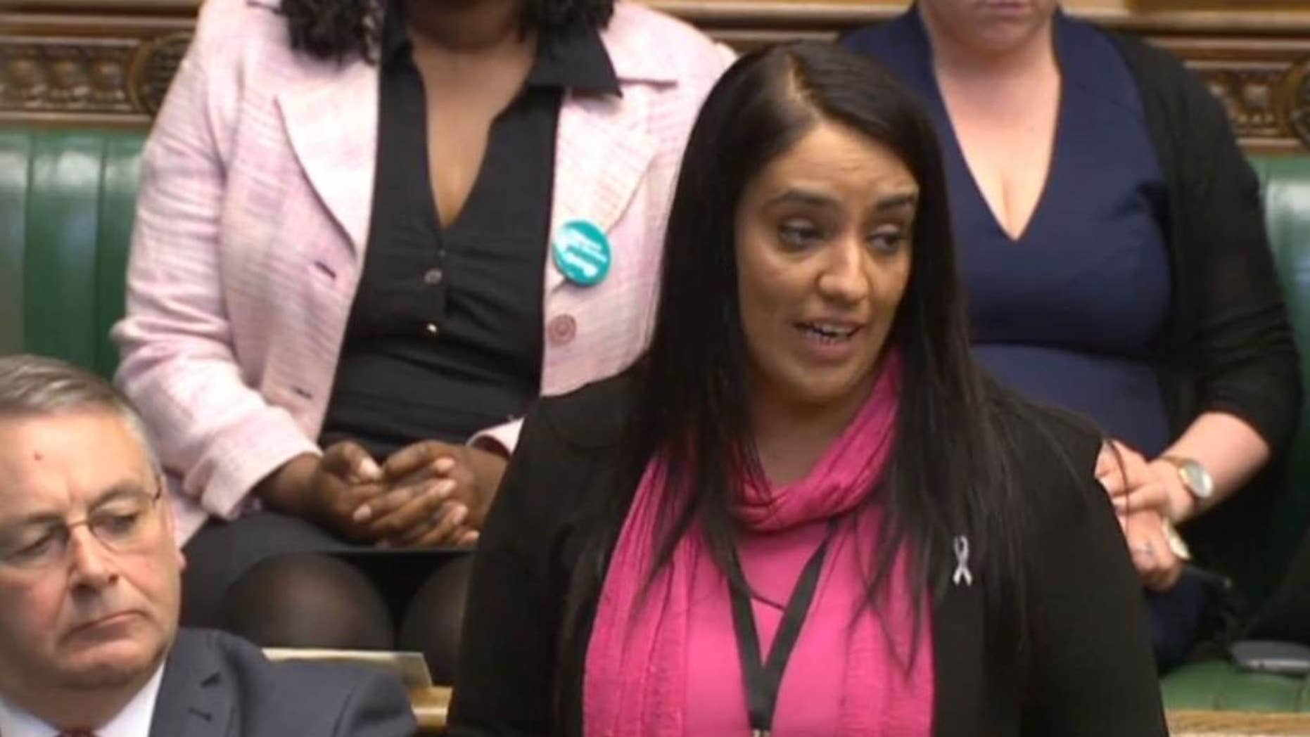 Britain's Labour MP Naz Shah makes a statement in the House of Commons, London, Wednesday April 27, 2016. Britain's main opposition Labour Party has suspended Shah for making anti-Israel posts on social media before she was elected to Parliament. (Parliament TV/  PA via AP) UNITED KINGDOM OUT - NO SALES - NO ARCHIVES