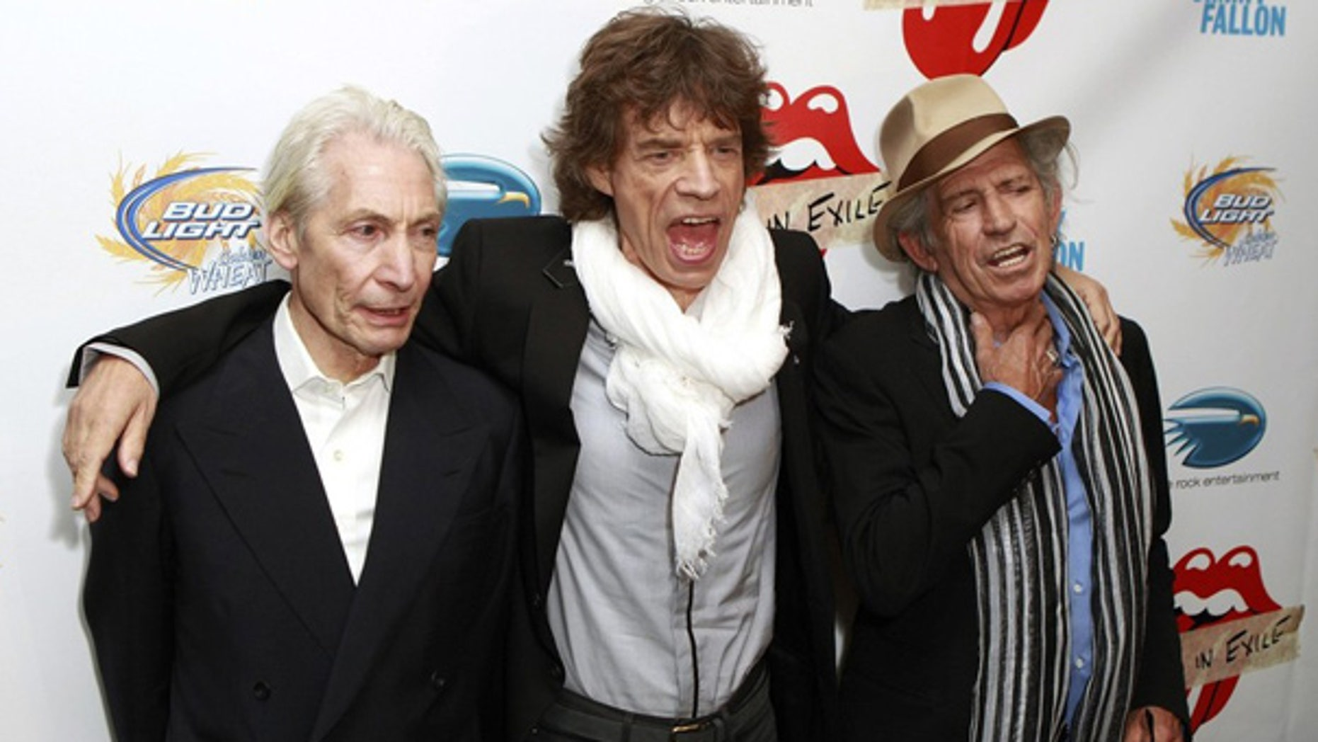 Rolling Stones band members Charles Watts, Mick Jagger, and Keith Richards.