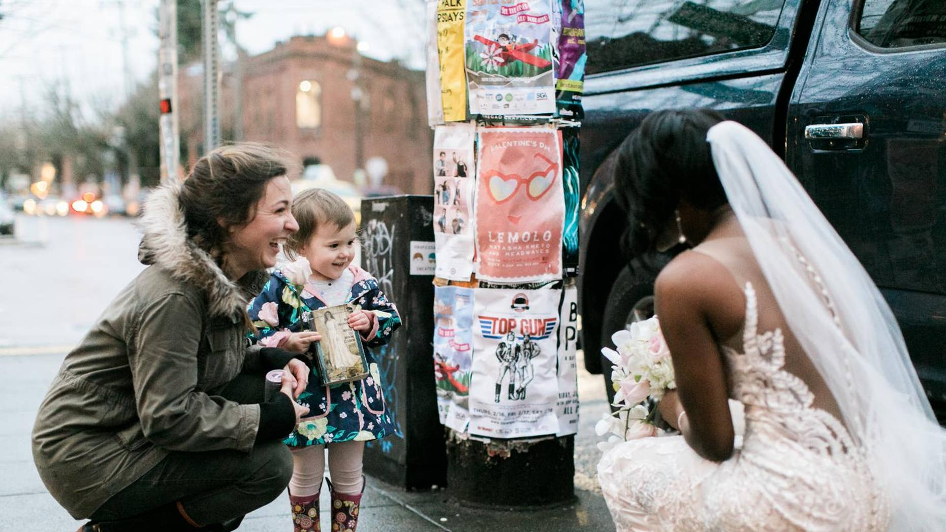 The girl spotted Shandace Lerma in a wedding dress and mistaken her for the princess on the cover. (Stephanie Cristalli Photography)