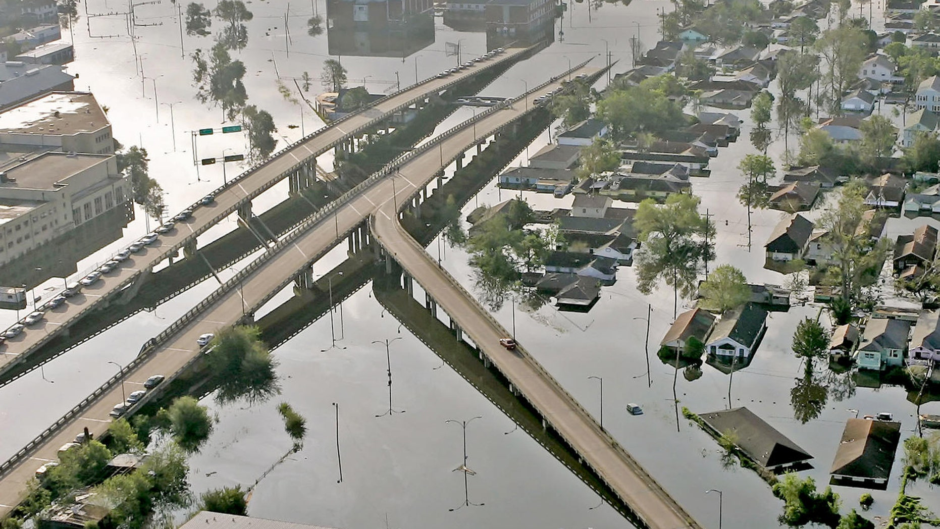 Aug. 30, 2005: Floodwaters from Hurricane Katrina fill the streets near downtown New Orleans.