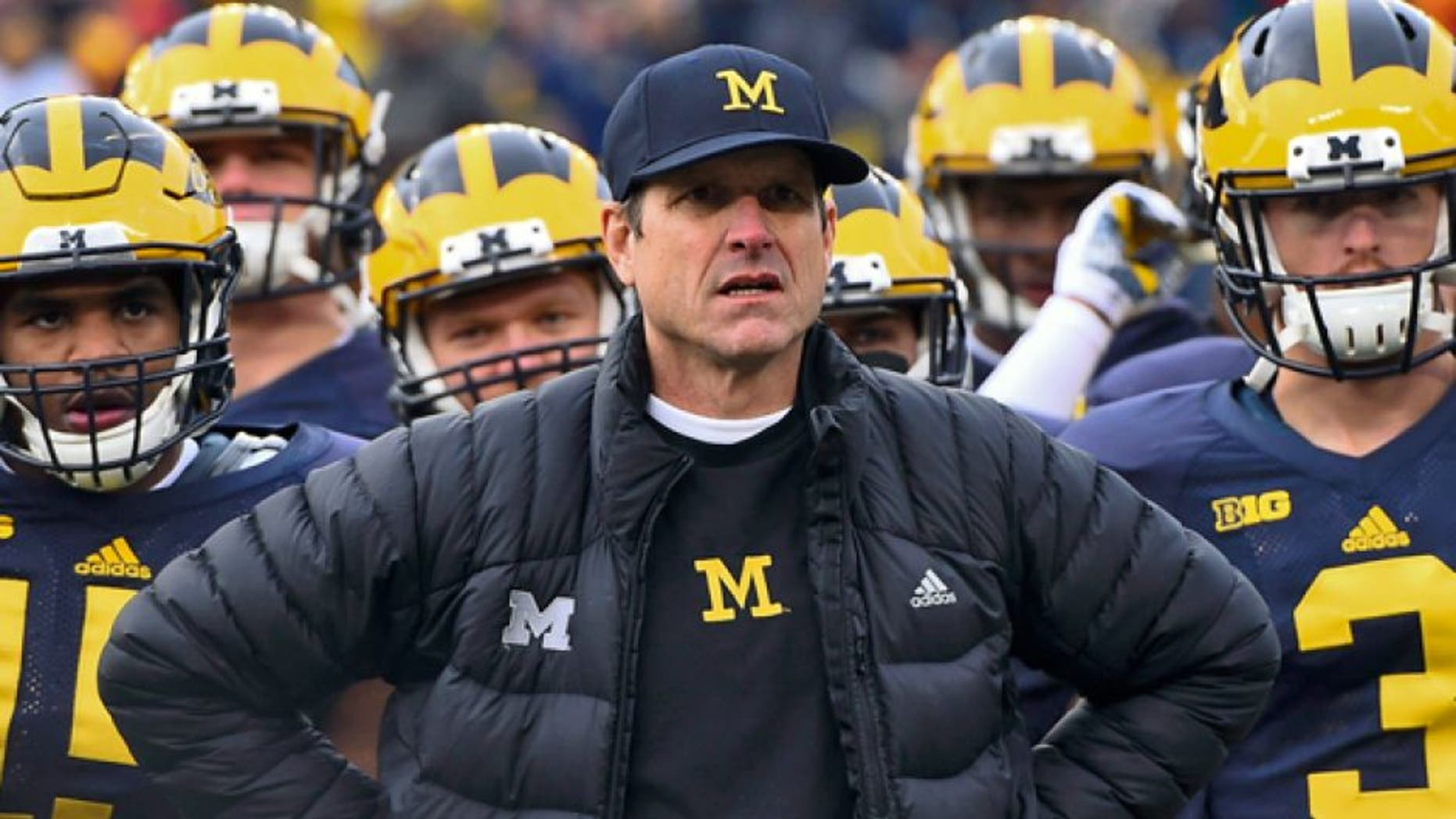 Nov 28, 2015; Ann Arbor, MI, USA; Michigan Wolverines head coach Jim Harbaugh on the sideline during the first half against the Ohio State Buckeyes at Michigan Stadium. Mandatory Credit: Tim Fuller-USA TODAY Sports
