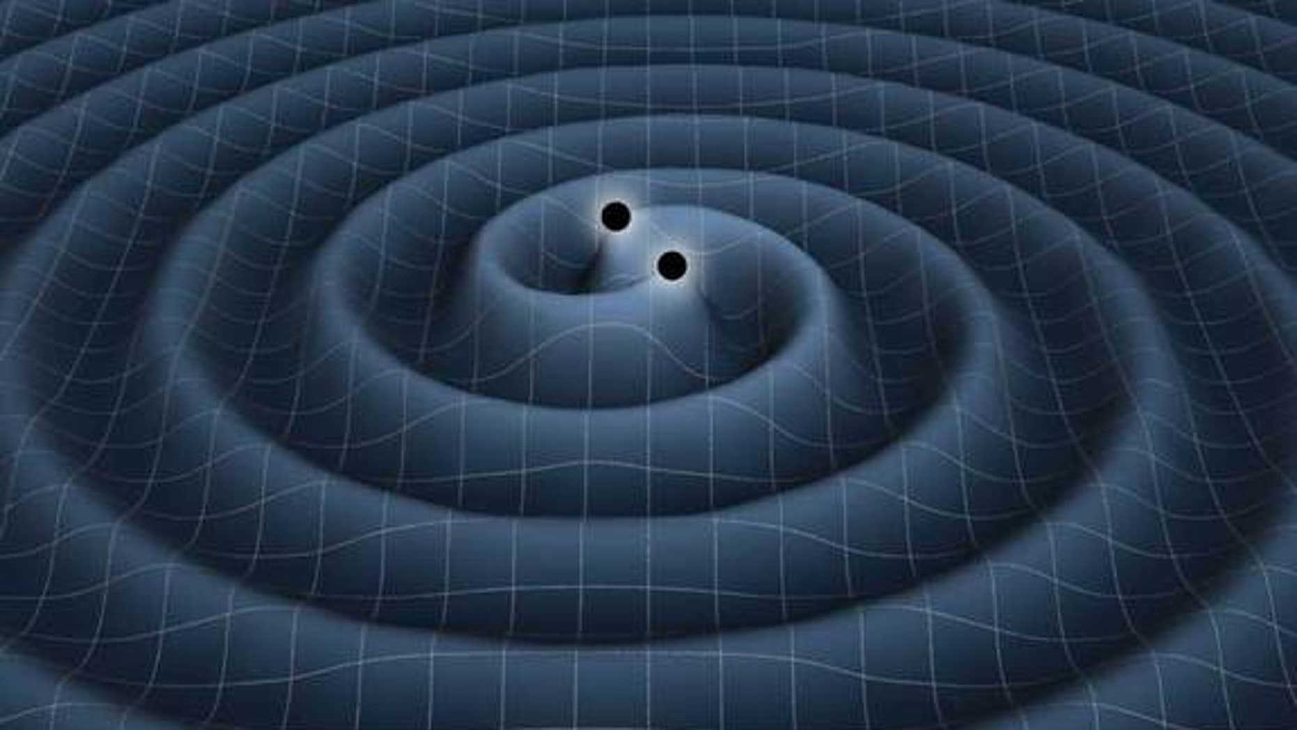 This illustration depicts the gravitational waves generated by two black holes orbiting each other.