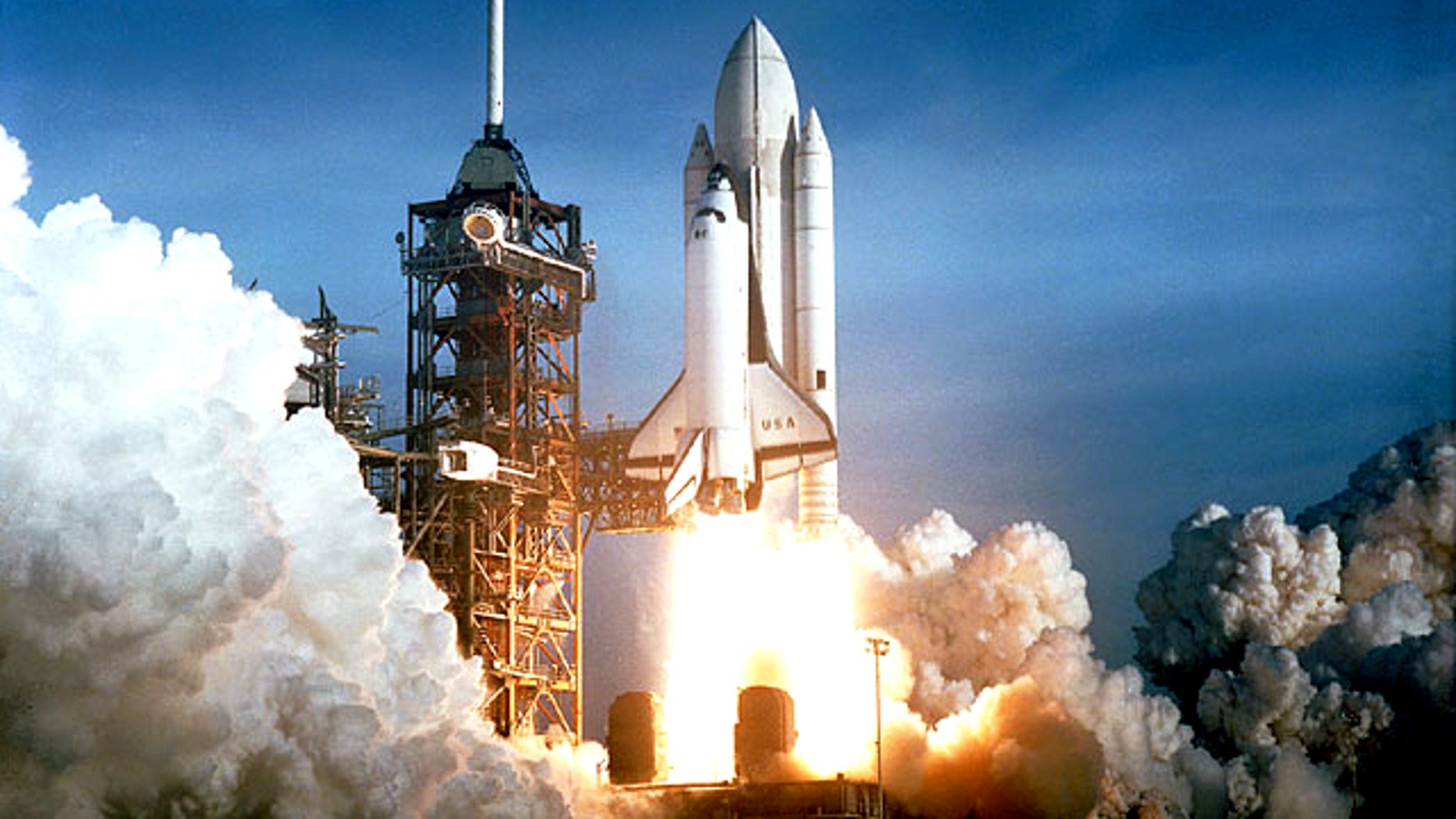 The shuttle Columbia lifts off on the first space shuttle mission ever, STS-1, on April 12, 1981.