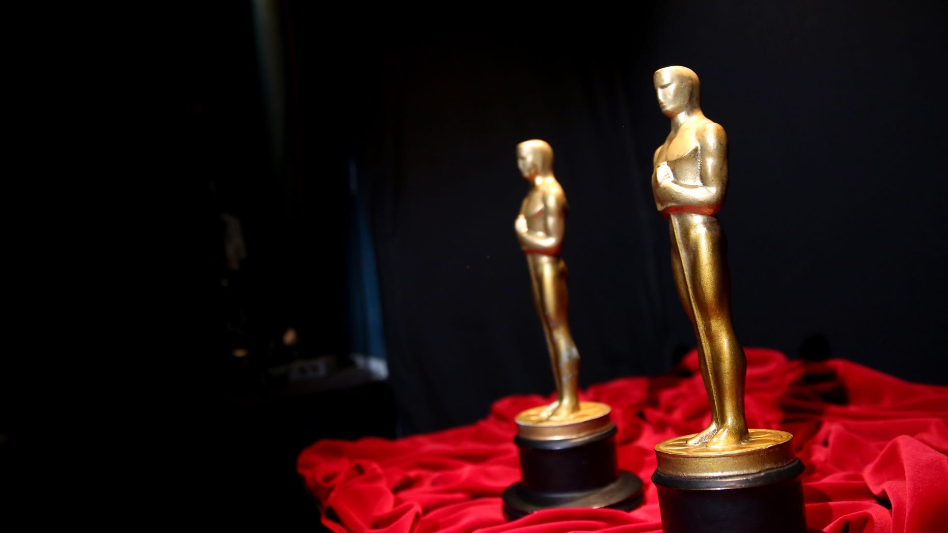 February 28, 2014. A pair of prop Oscars are seen backstage during rehearsals for the 86th Academy Awards in Los Angeles.The Academy Awards will be held at the Dolby Theatre on Sunday, March 2.