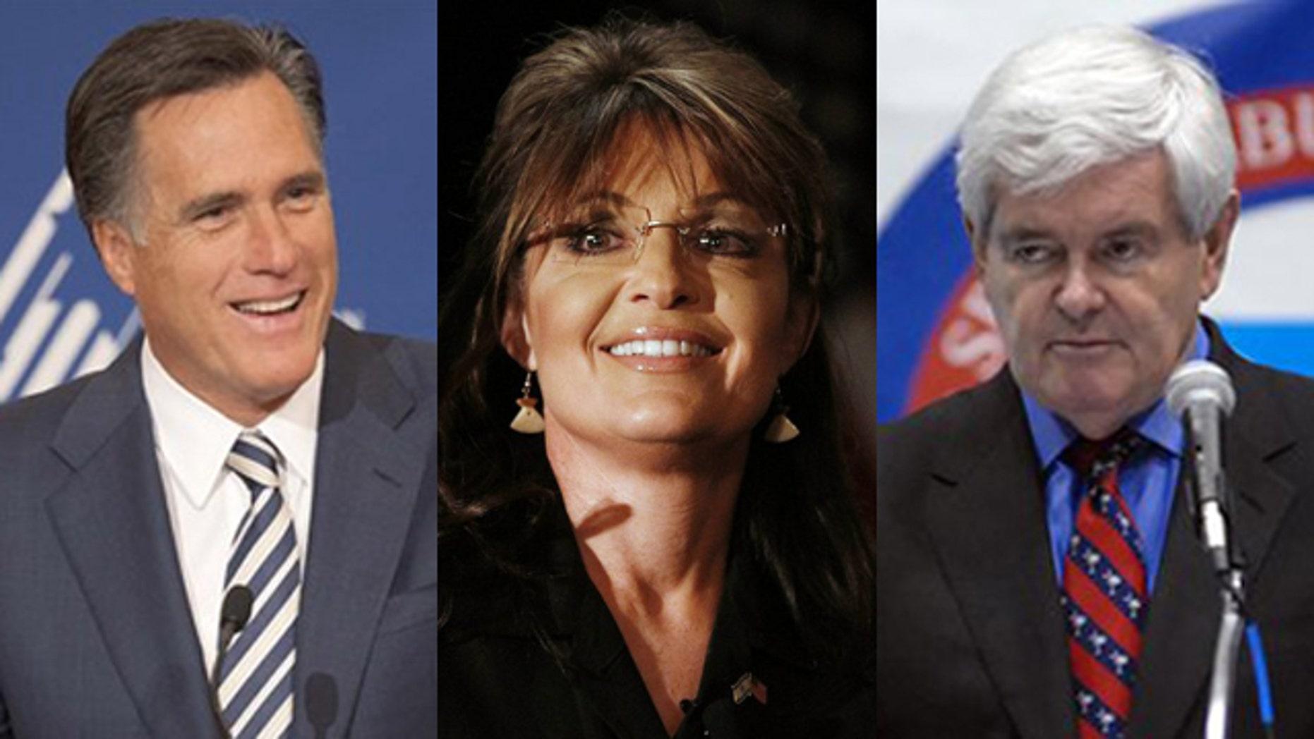 Shown here are former Massachusetts Gov. Mitt Romney, left, former Alaska Gov. Sarah Palin, center, and former House Speaker Newt Gingrich.