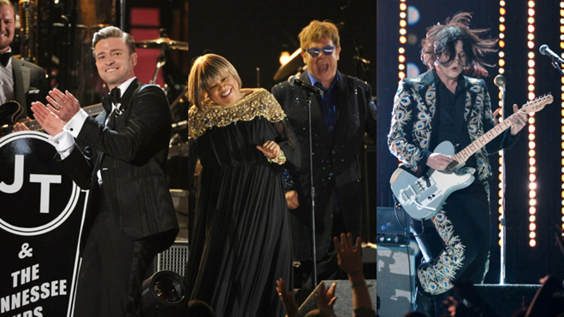 Feb. 10, 2013: Justin Timberlake, Elton John (with Mavis Staples) and  Jack White perform at the 55th annual Grammy Awards in Los Angeles.