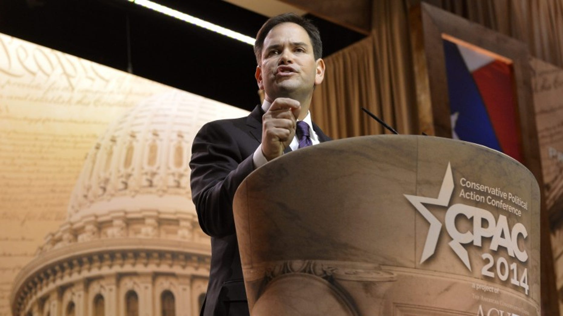 Sen. Marco Rubio (R-FL) makes remarks to the Conservative Political Action Conference (CPAC) in Oxon Hill, Md., March 6, 2014. (REUTERS/Mike Theiler)