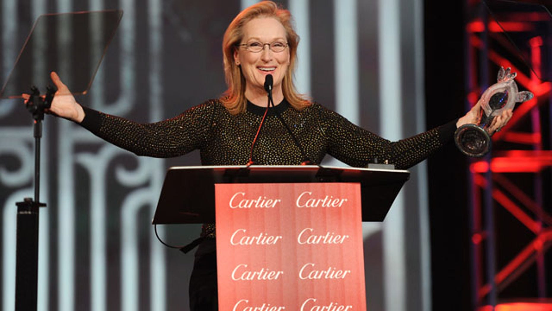 """January 4, 2014: Meryl Streep accepts the Icon award for """"August: Osage County"""" at the Palm Springs International Film Festival Awards Gala in Palm Springs, Calif. (Photo by Frank Micelotta/Invision/AP)"""