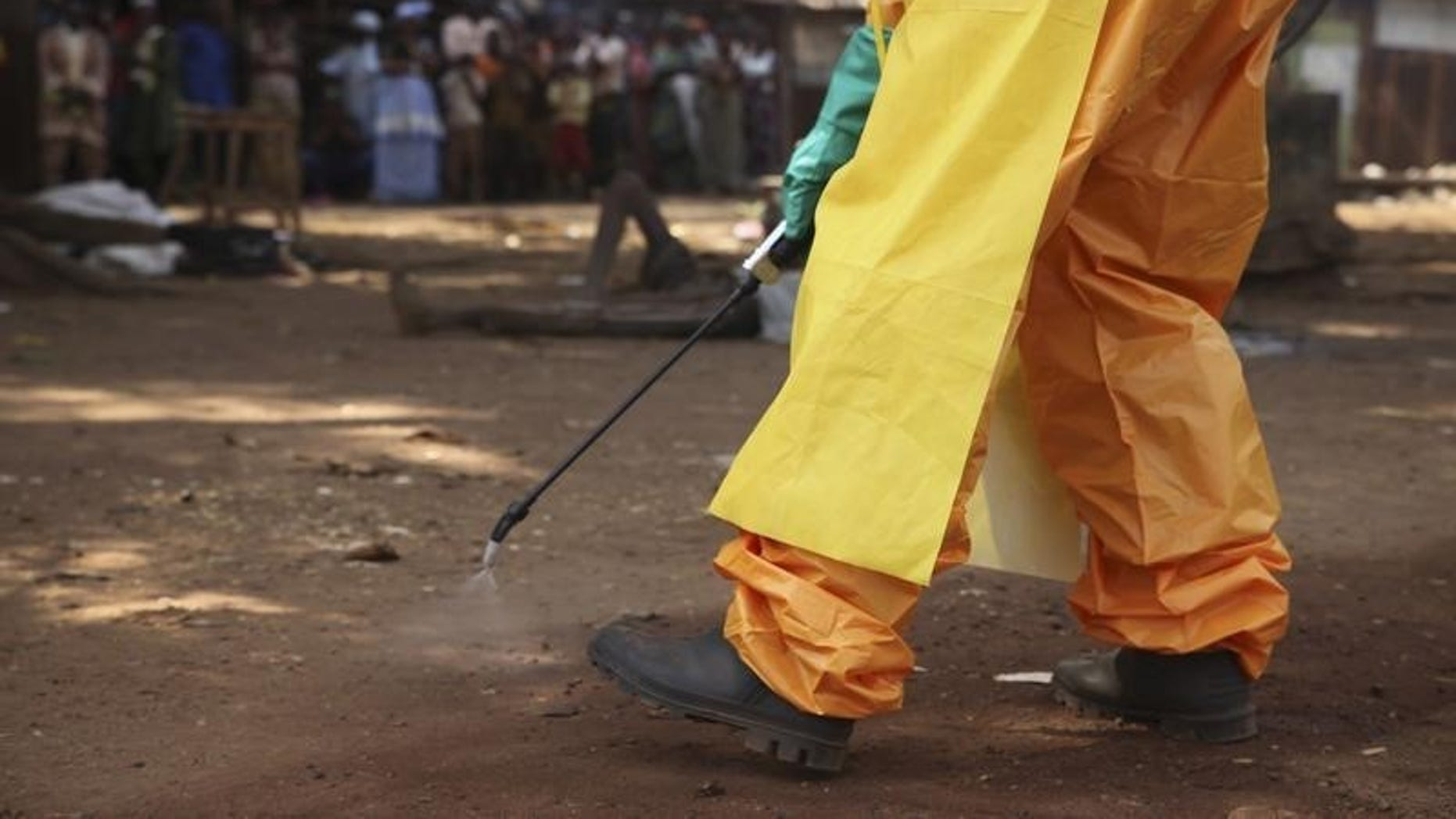 A member of the French Red Cross disinfects the area around a motionless person suspected of carrying the Ebola virus as a crowd gathers in Forecariah January 30, 2015. (REUTERS/MISHA HUSSAIN)