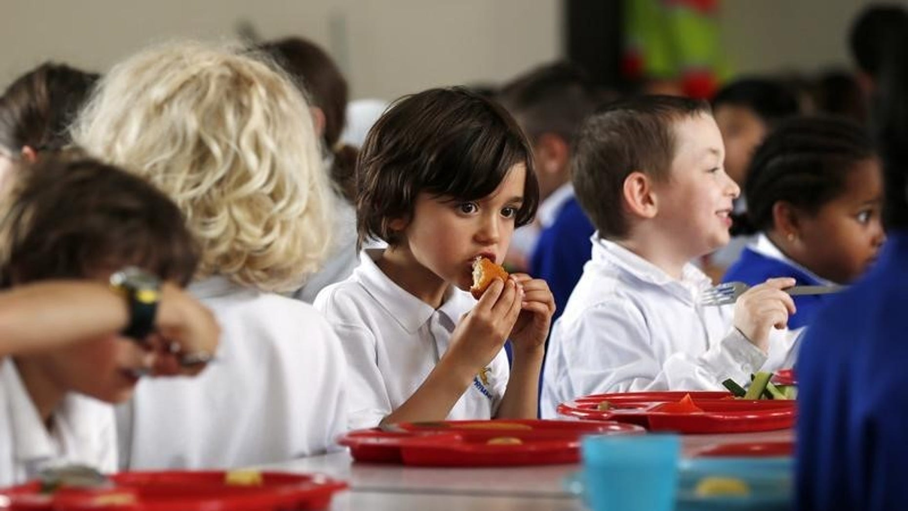Students eat lunch at Salusbury Primary School in northwest London June 11, 2014.  REUTERS/Suzanne Plunkett