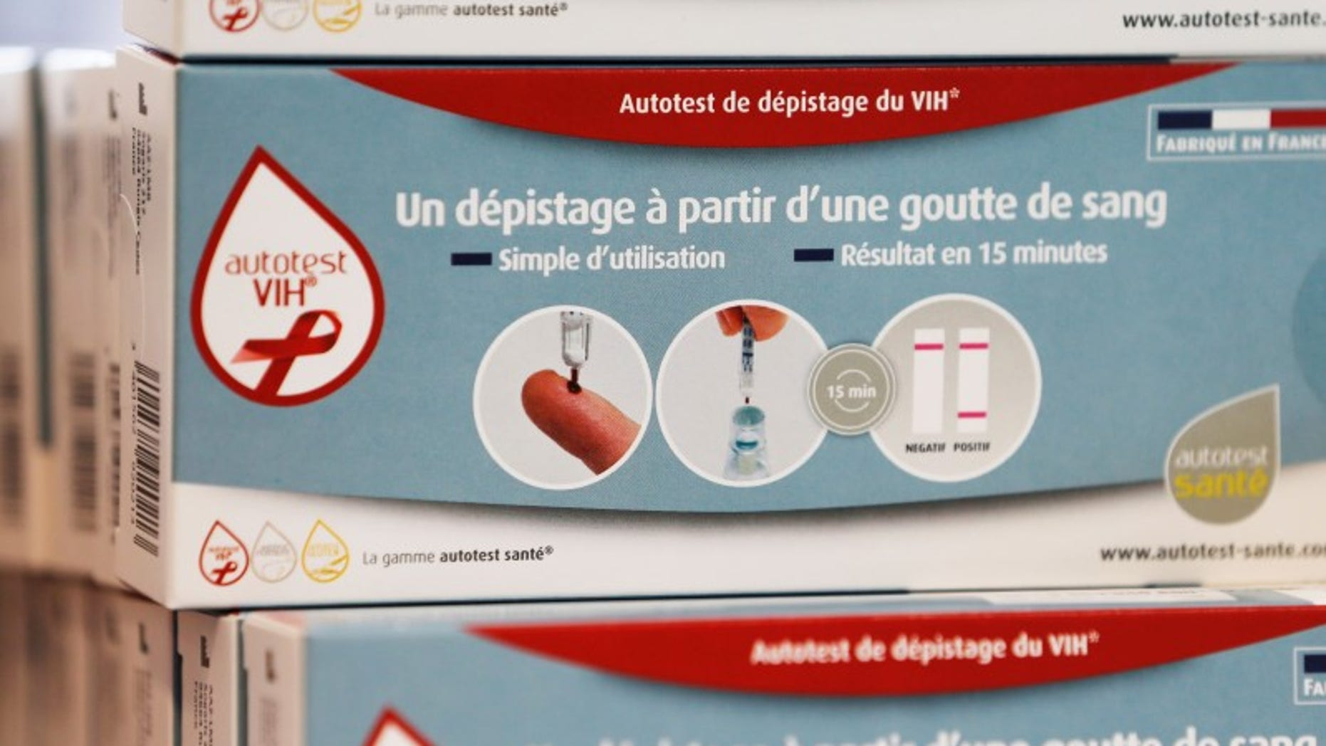 HIV self tests are displayed in a pharmacy in Bordeaux, France, September 15, 2015.   REUTERS/Regis Duvignau