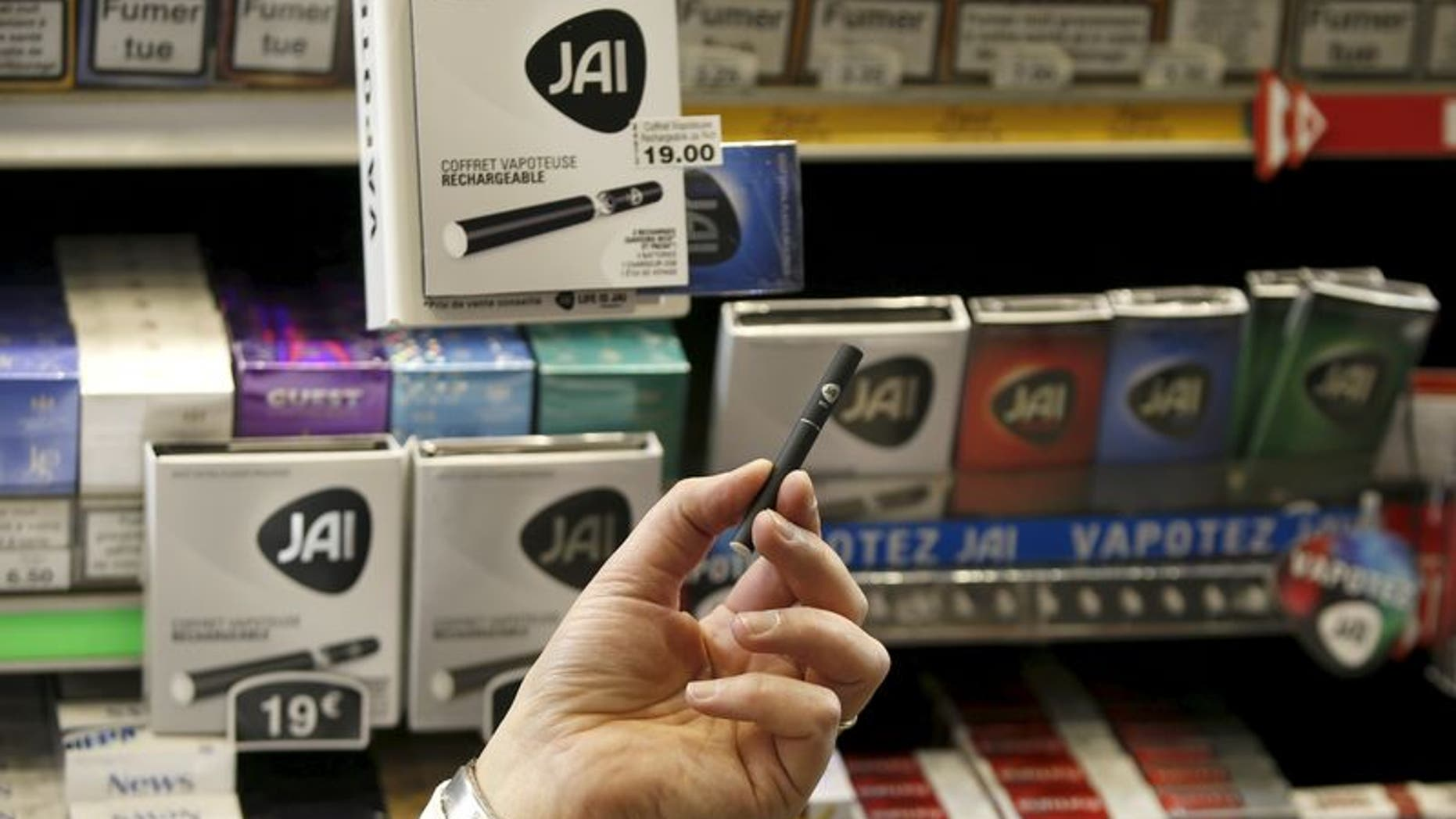 E-cigarette Jai is displayed in a tobacco shop in Paris in this February 9, 2015 file photo. REUTERS/Charles Platiau/Files