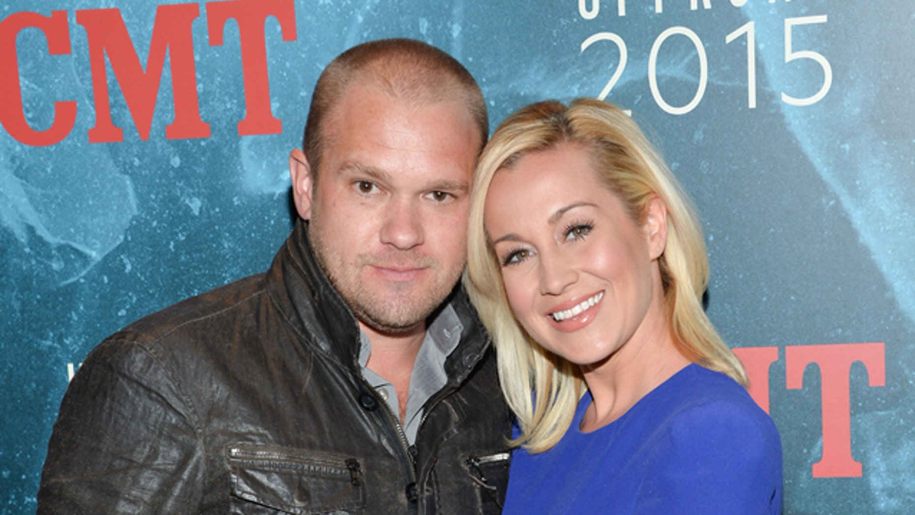Singer Kellie Pickler and husband Kyle Jacobs attend the 2015 CMT Upfront event at the TimesCenter on Thursday, April 2, 2015, in New York.