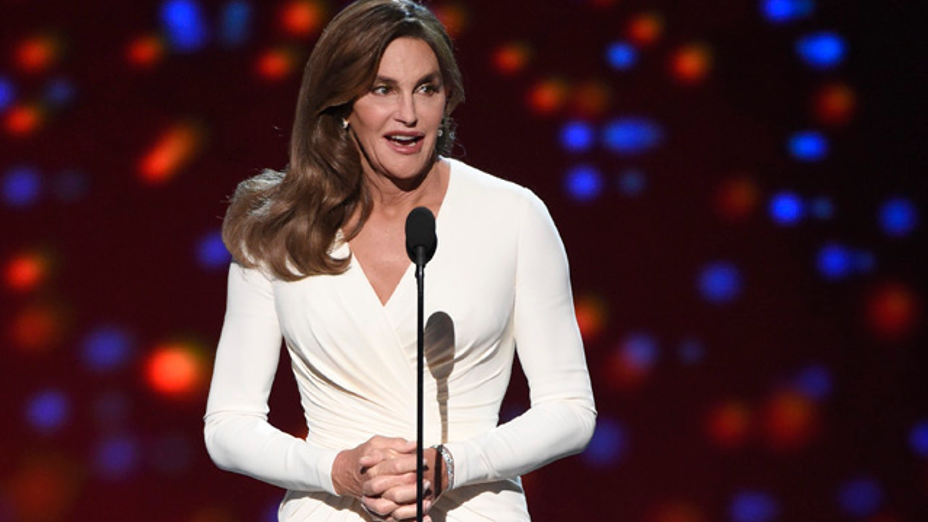 July 15, 2015: Caitlyn Jenner accepts the Arthur Ashe award for courage at the ESPY Awards at the Microsoft Theater in Los Angeles. (Photo by Chris Pizzello/Invision/AP)