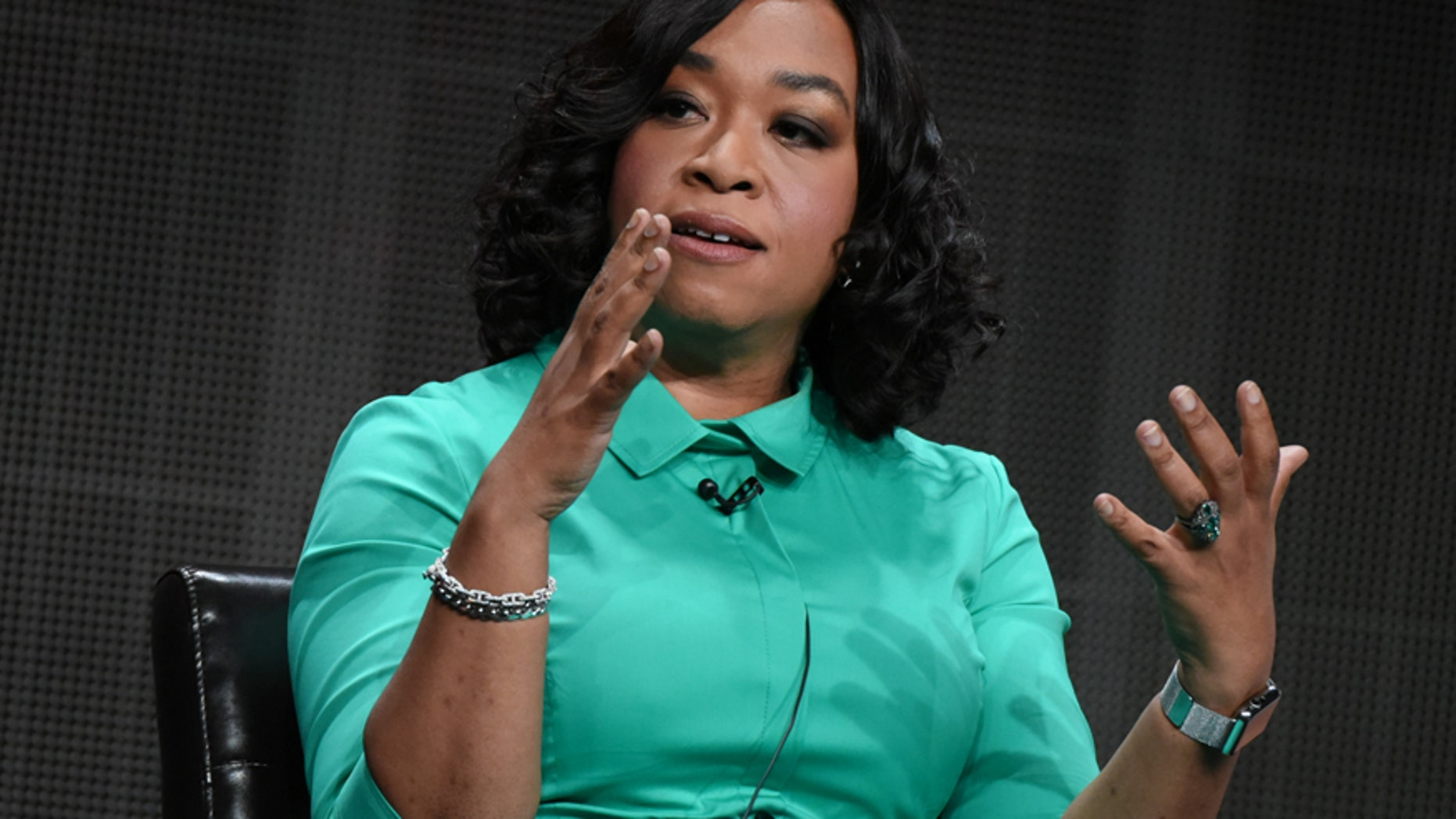 "Creator/Executive Producer Shonda Rhimes speaks onstage during the ""Greys Anatomy, Scandal, and How to Get Away with Murder"" panel at the Disney/ABC Summer TCA Tour held at the Beverly Hilton Hotel on Tuesday, August 4, 2015, in Beverly Hills, Calif."