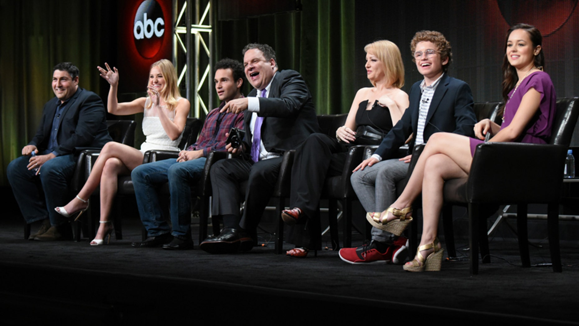 """Creator/Executive Producer Adam Goldberg, from left, AJ Michalka, Troy Gentile, Jeff Garlin, Wendi McLendon-Covey, Sean Giambrone and Hayley Orrantia participate in """"The Goldbergs"""" panel at the Disney/ABC Summer TCA Tour at the Beverly Hilton Hotel on Tuesday, Aug. 4, 2015, in Beverly Hills, Calif."""