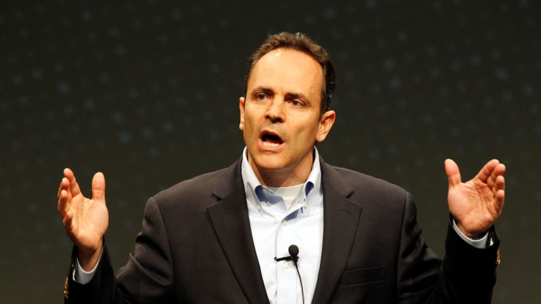 Kentucky Gov. Matt Bevin is shown delivering a speech in Louisville, April 5, 2014.