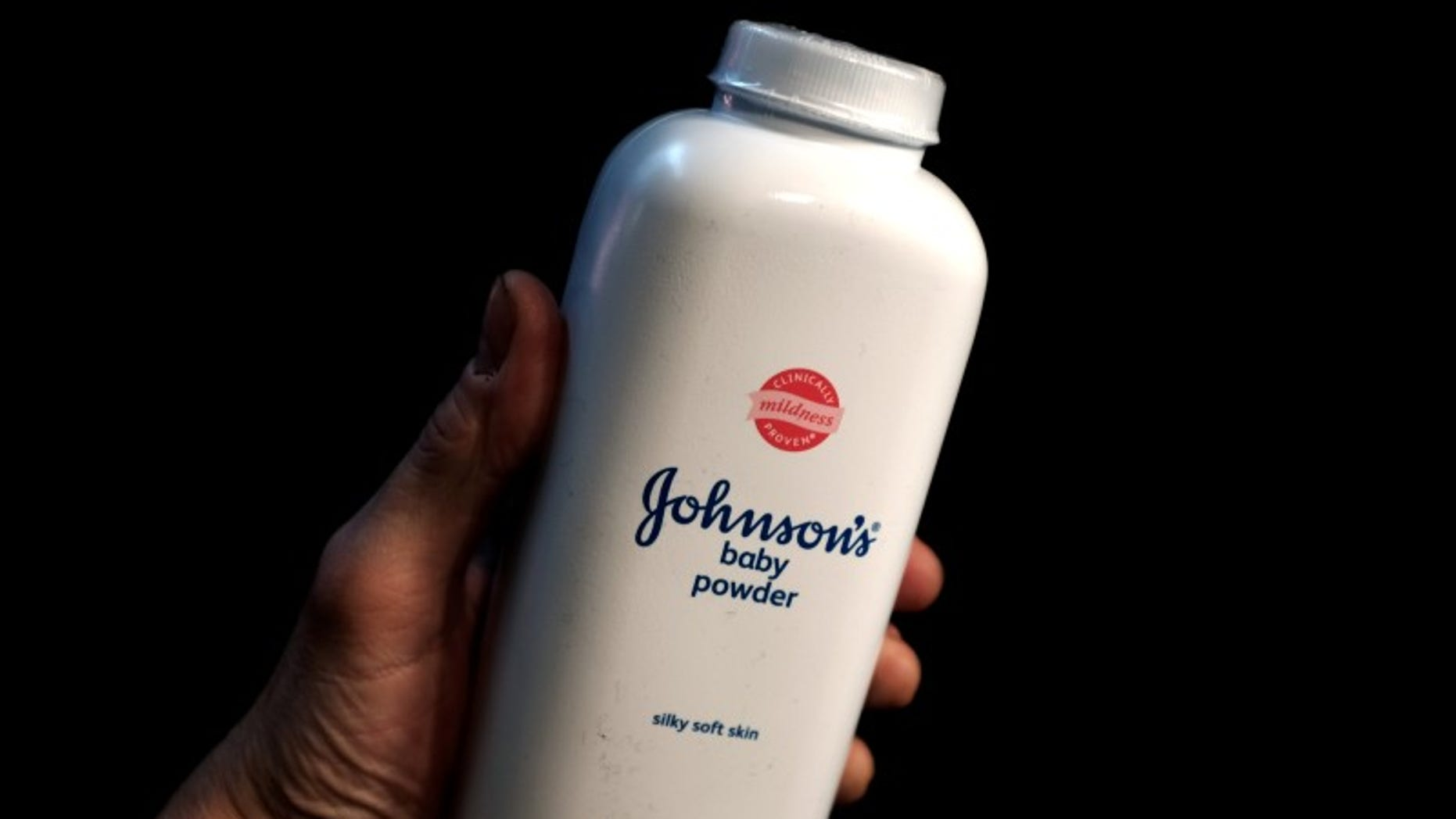 A bottle of Johnson's Baby Powder is seen in a photo illustration taken in New York