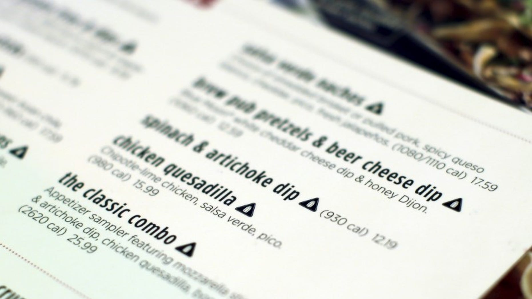 A new menu from Applebee's restaurant is seen at one of its outlet in the Manhattan borough of New York City