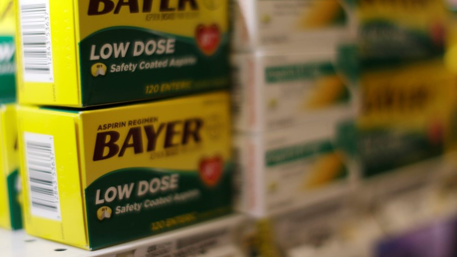 Bayer aspirin is seen at the Safeway store in Wheaton Maryland