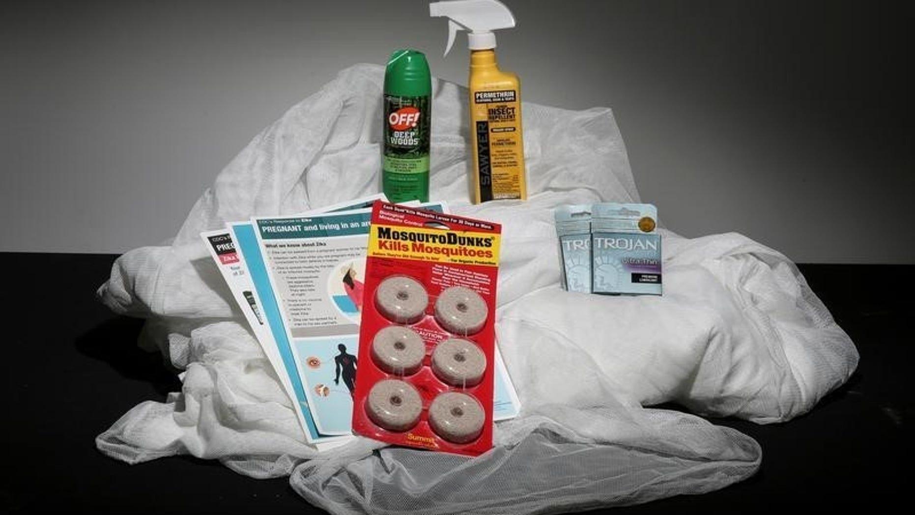 Photo illustration shows an anti Zika virus kit