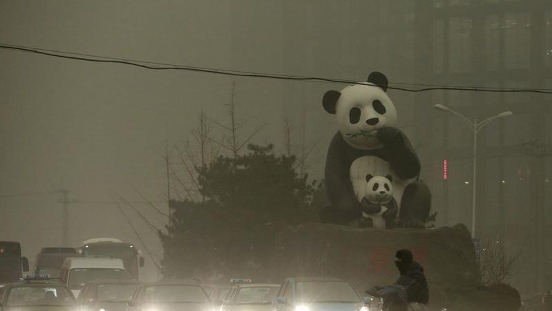A resident rides an electric bicycle across a street amid heavy smog as vehicles wait for a traffic light next to a statue of pandas, a landmark of the Wangjing area in Beijing